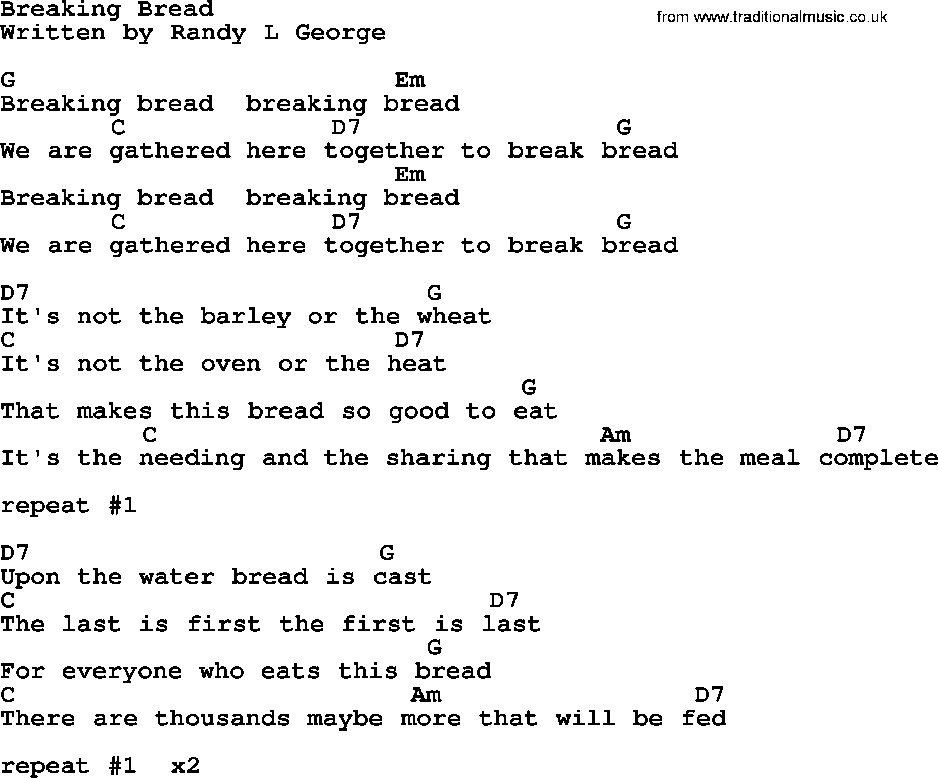johnny cash song breaking bread lyrics and chords