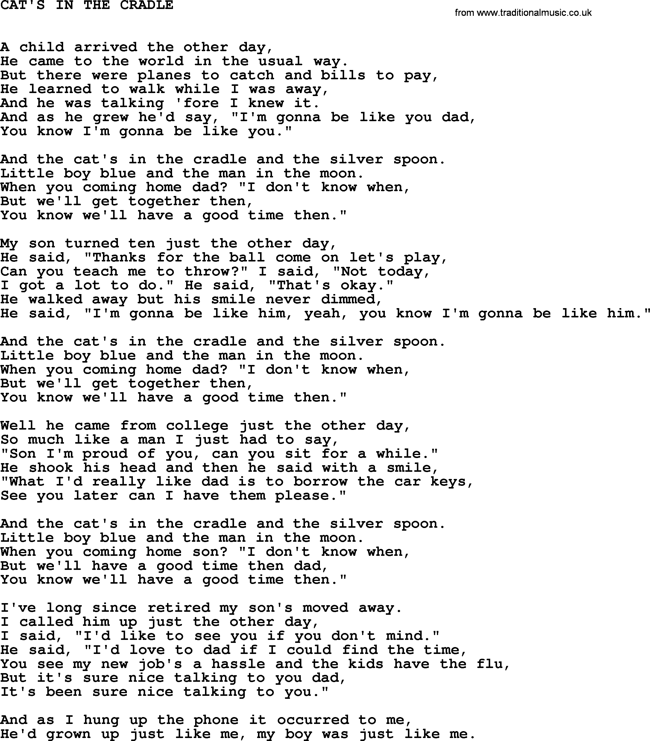 Johnny Cash Song Cat S In The Cradle Lyrics