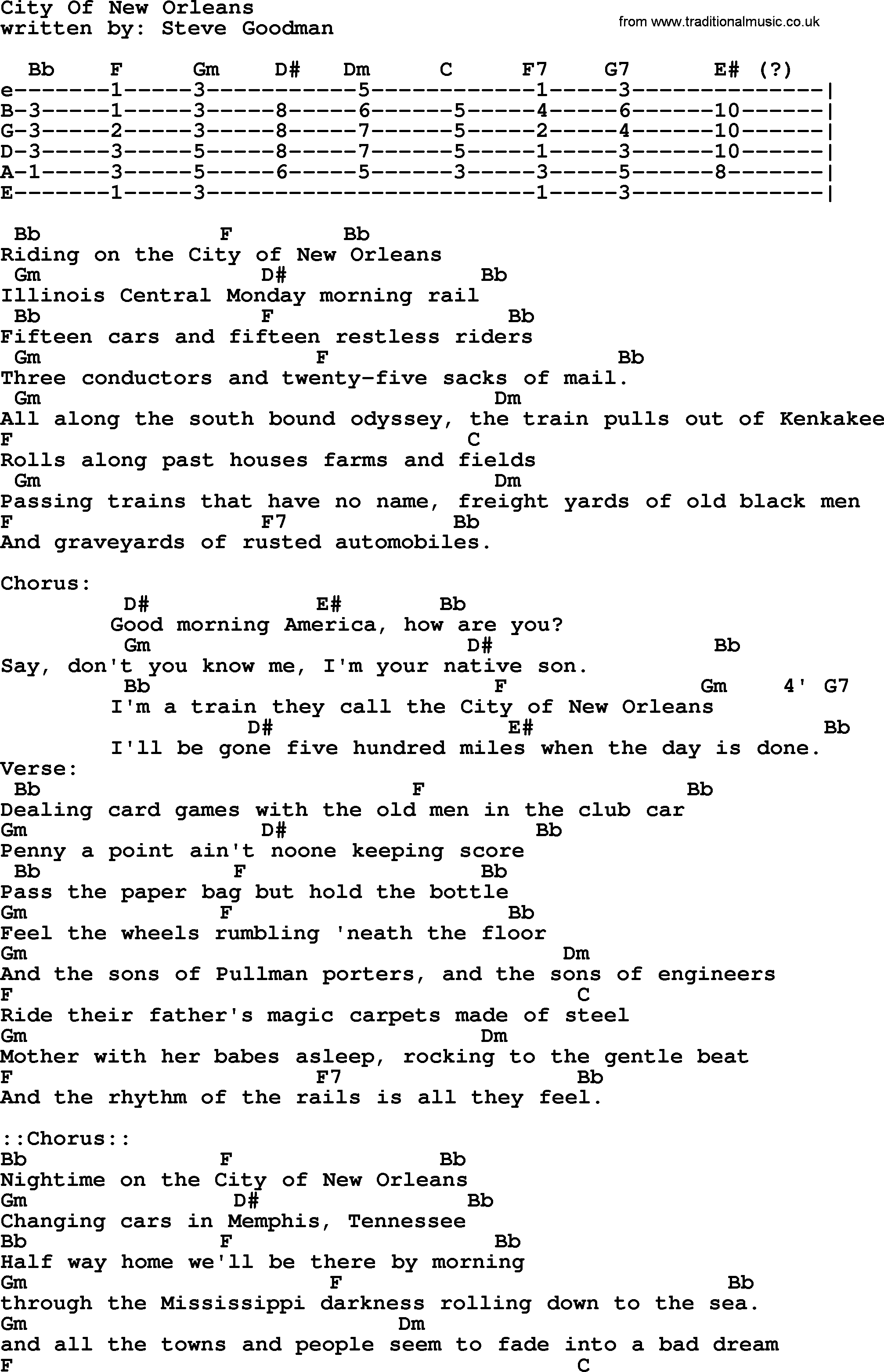 Johnny Cash song City Of New Orleans, lyrics and chords