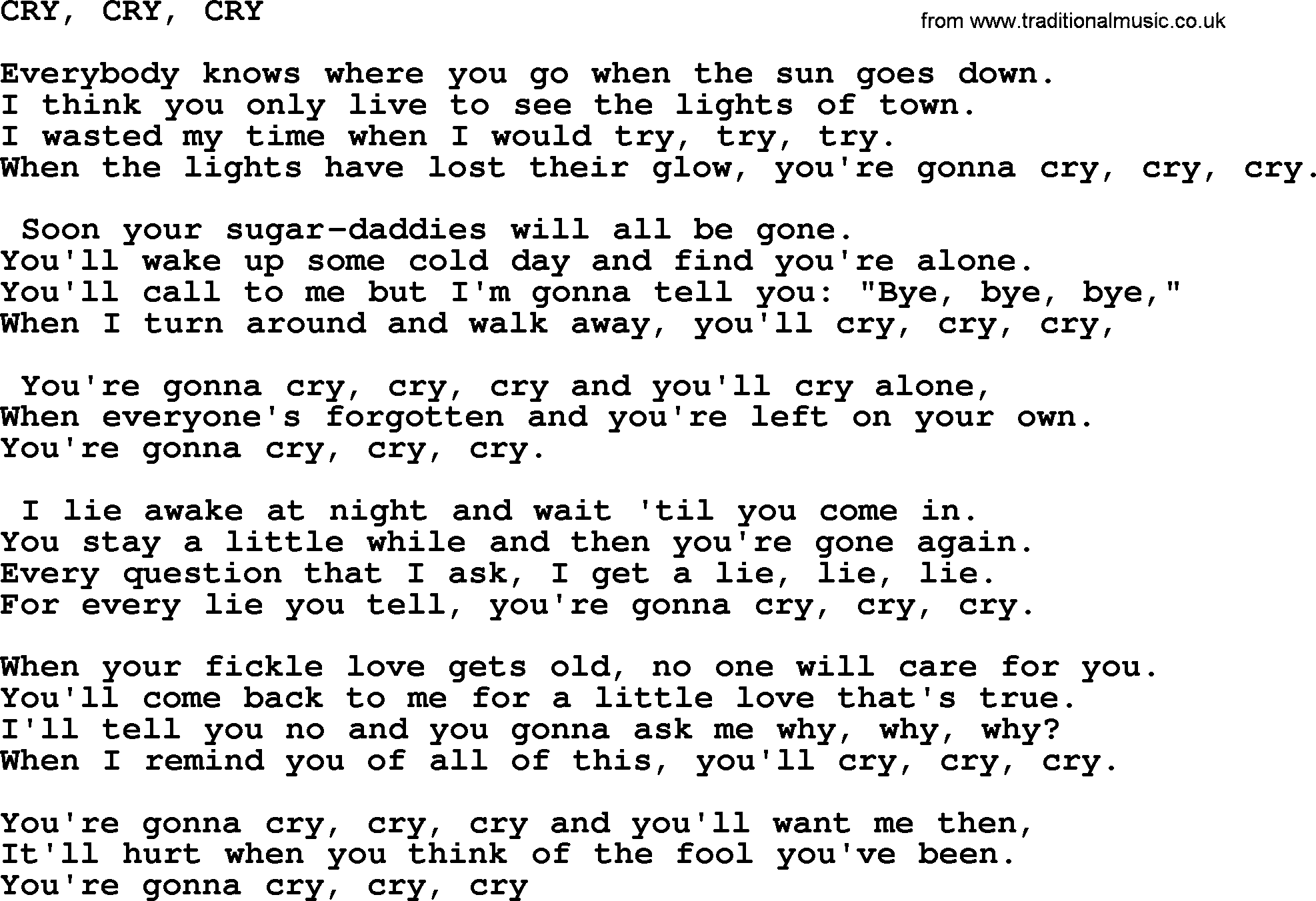 Johnny Cash Song Cry Cry Cry Lyrics