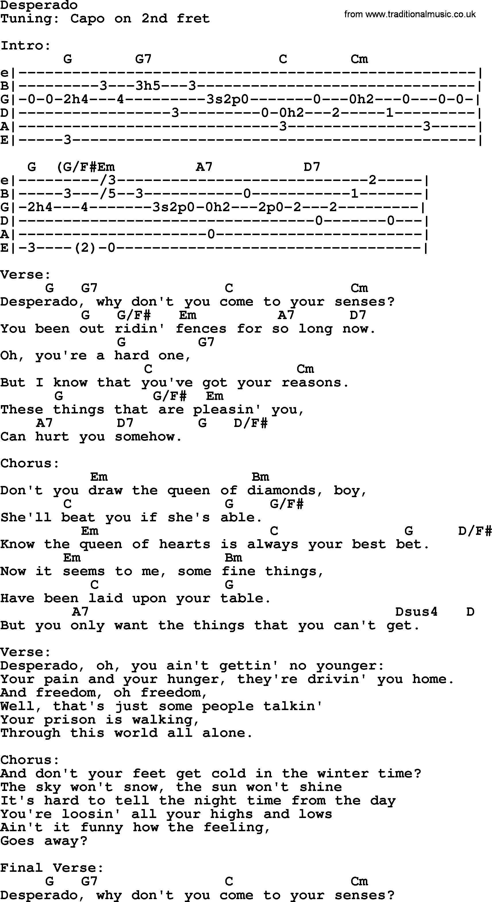Johnny Cash song: Desperado, lyrics and chords