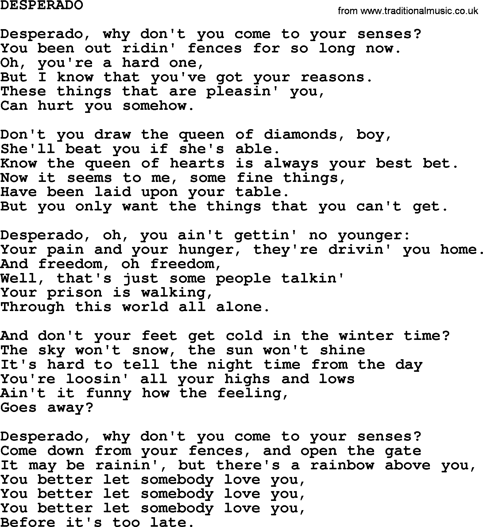 Johnny Cash song: Desperado, lyrics