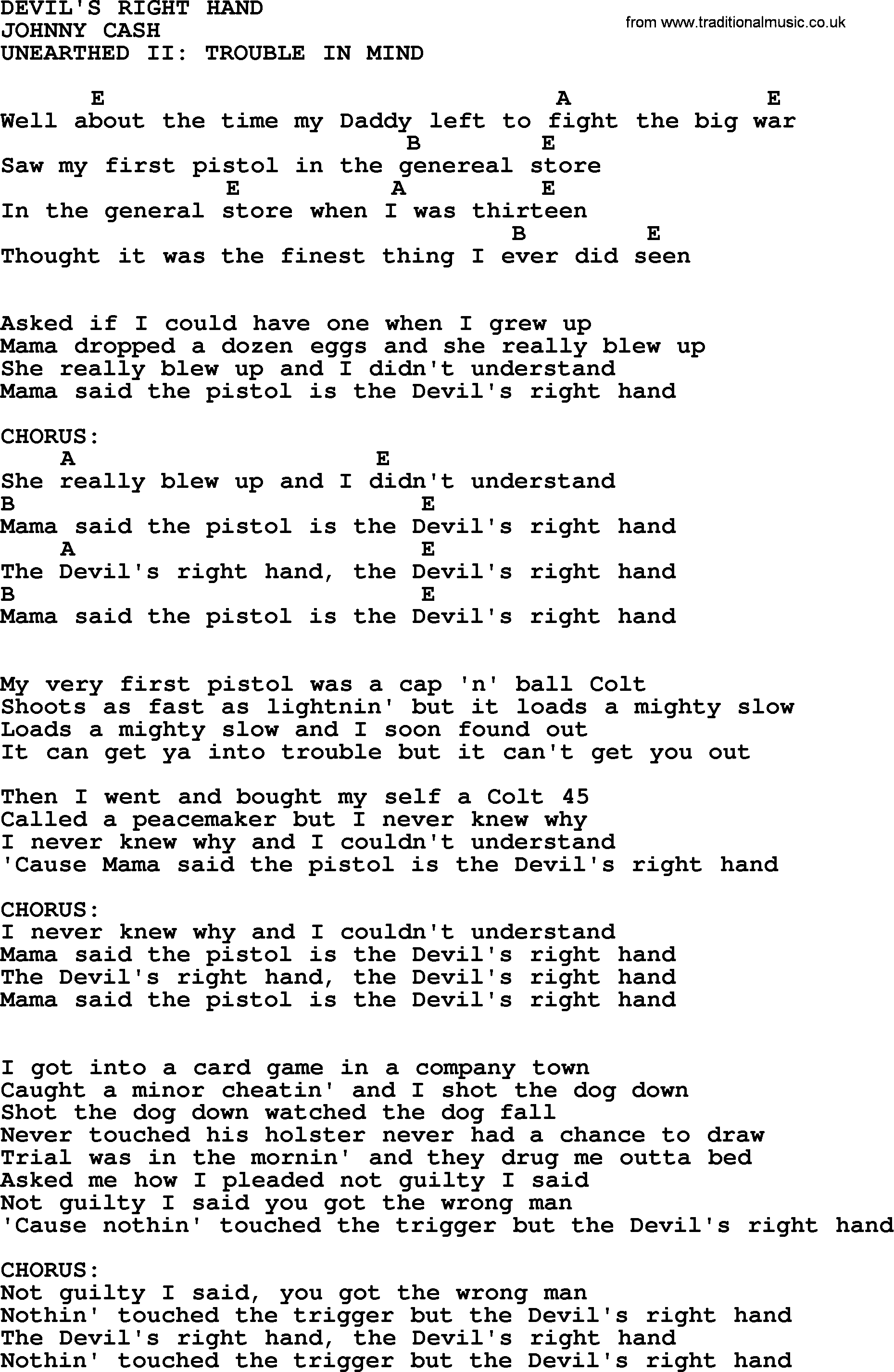 Johnny Cash Song Devils Right Hand Lyrics And Chords