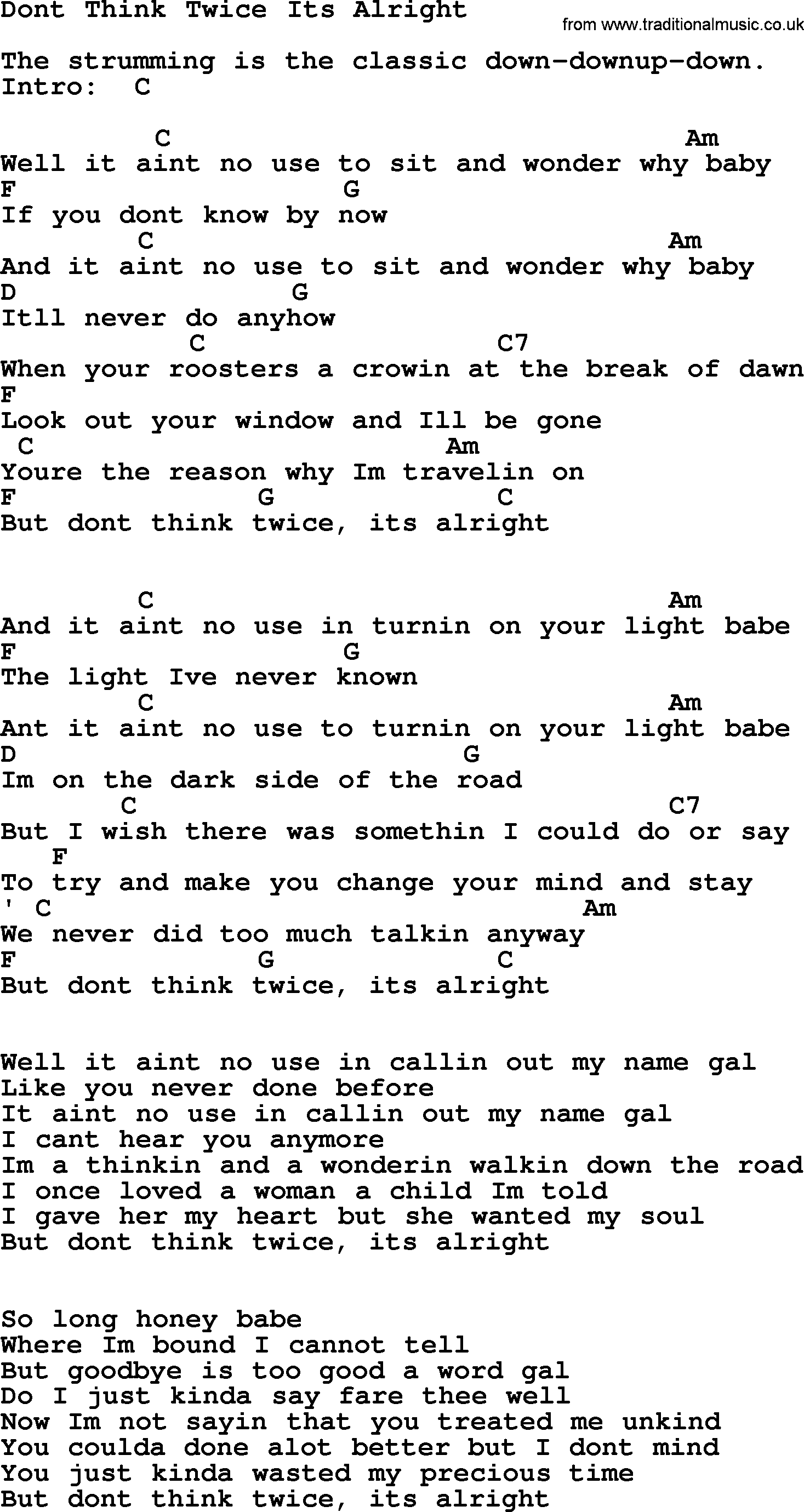 Johnny Cash Song Dont Think Twice Its Alright Lyrics And Chords