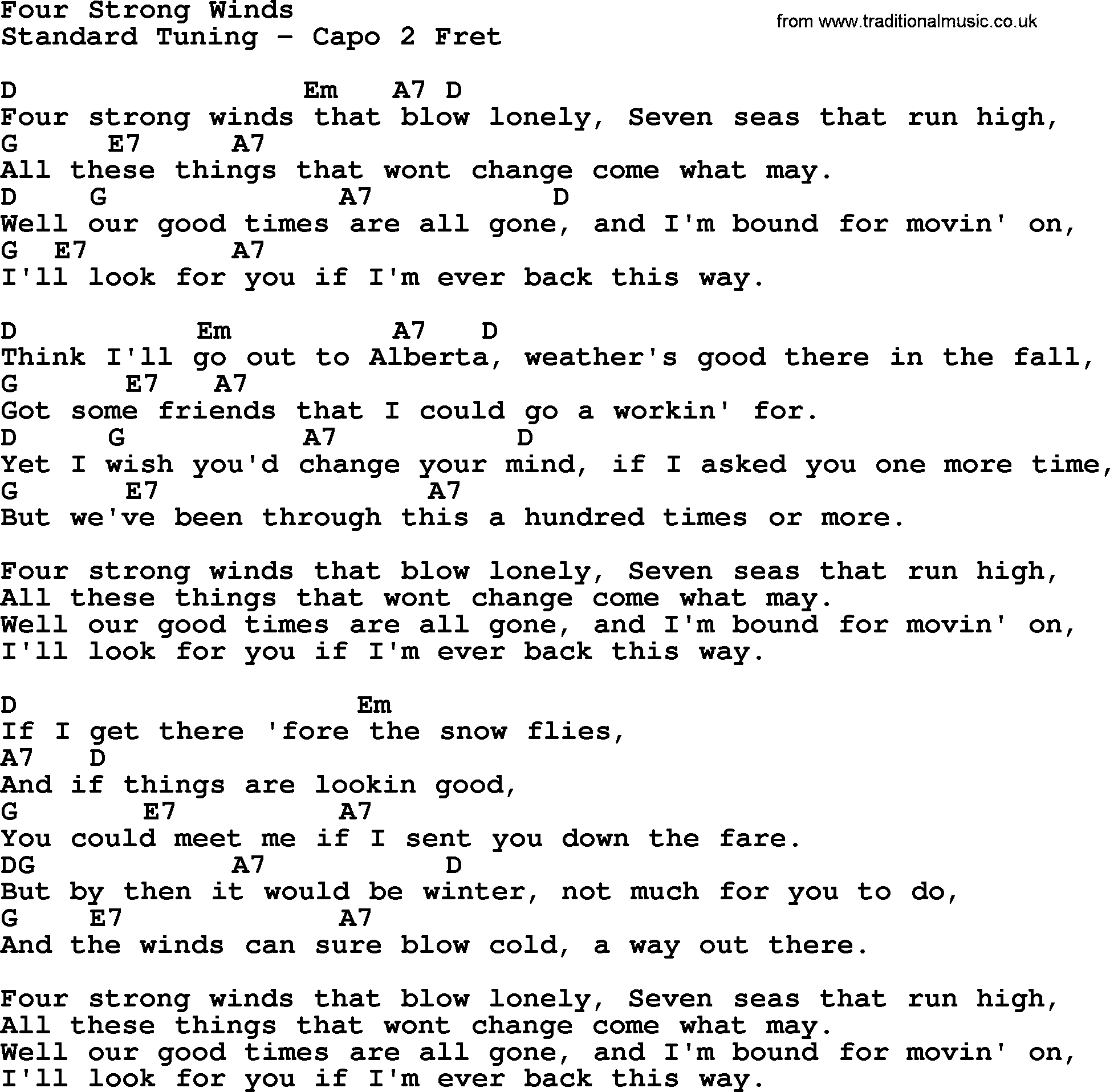 Johnny Cash Song Four Strong Winds Lyrics And Chords