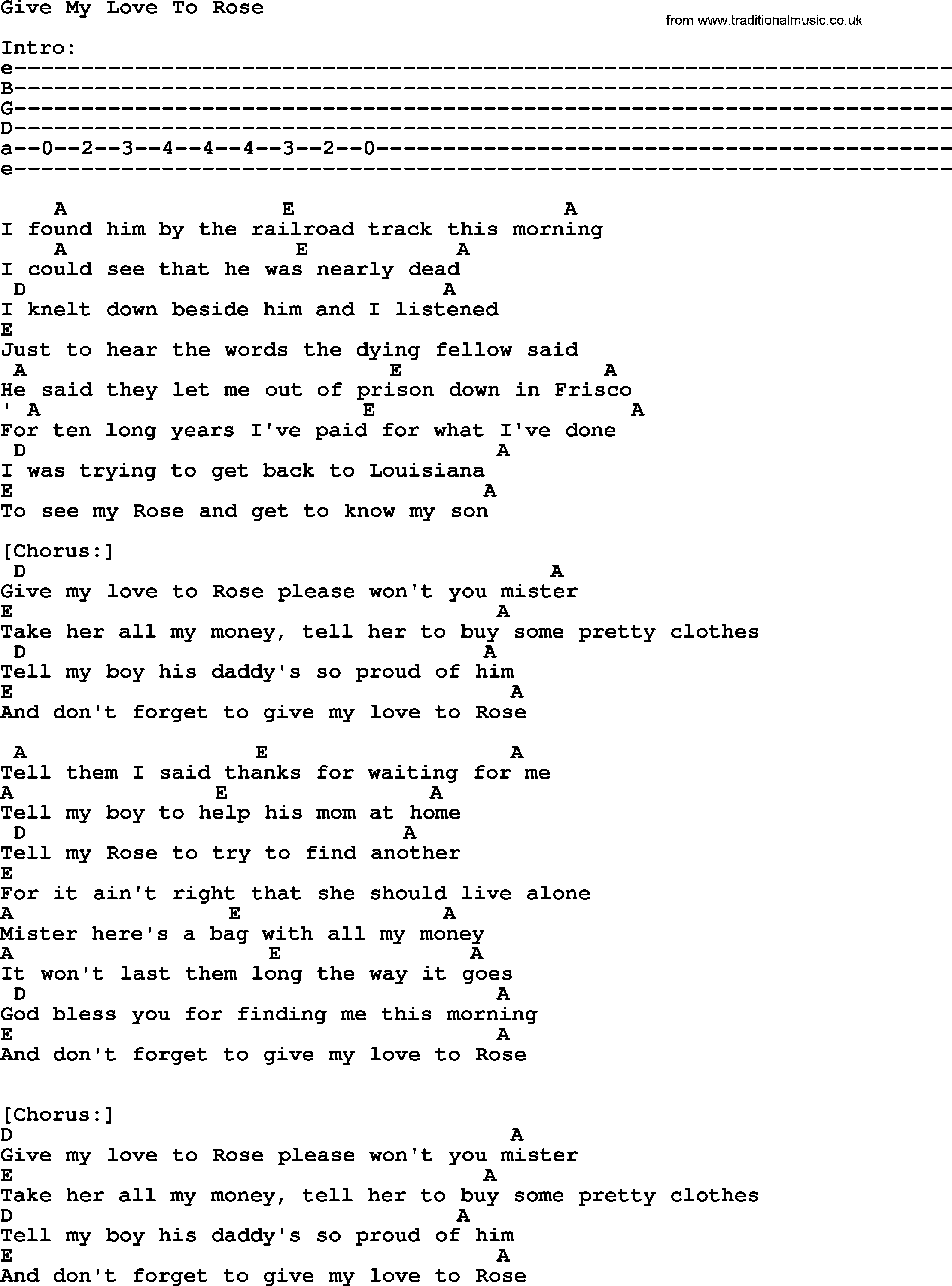 Johnny Cash song: Give My Love To Rose, lyrics and chords