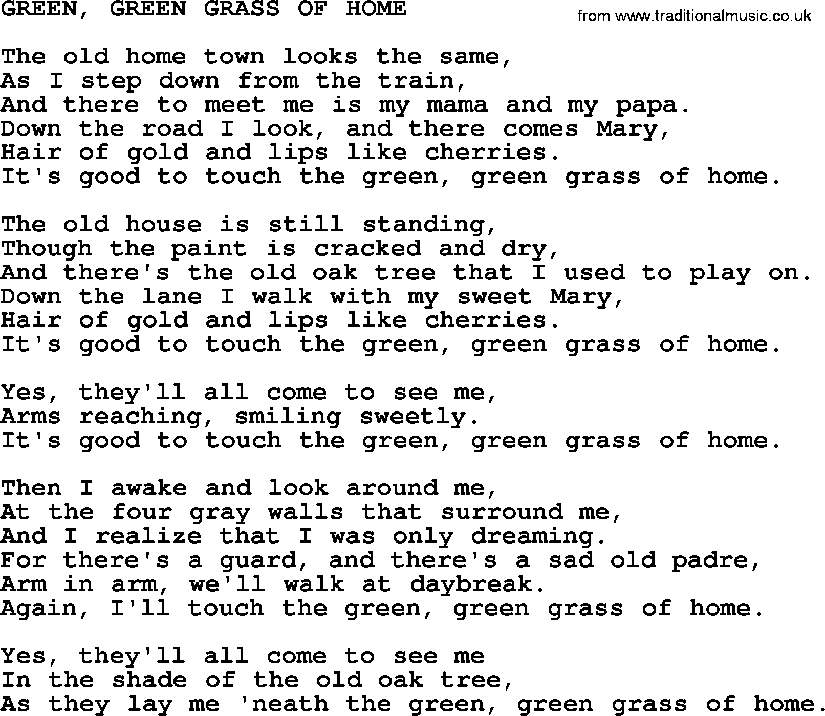 Johnny Cash song: Green, Green Grass Of Home, lyrics
