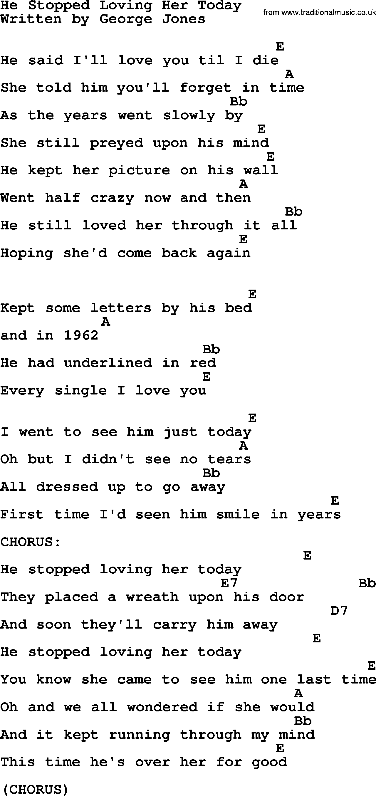 Johnny Cash song He Stopped Loving Her Today, lyrics and chords