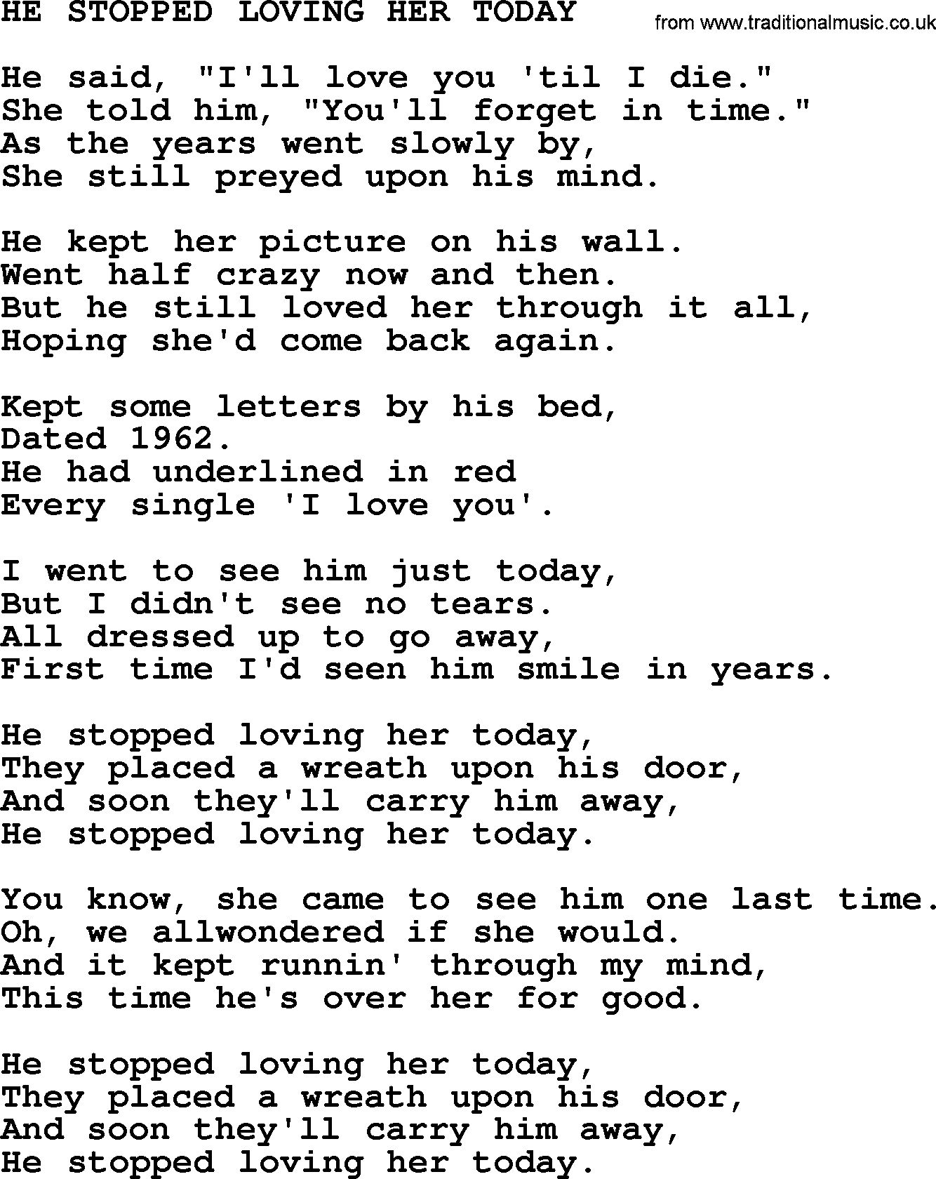 Johnny Cash Song He Stopped Loving Her Today Lyrics