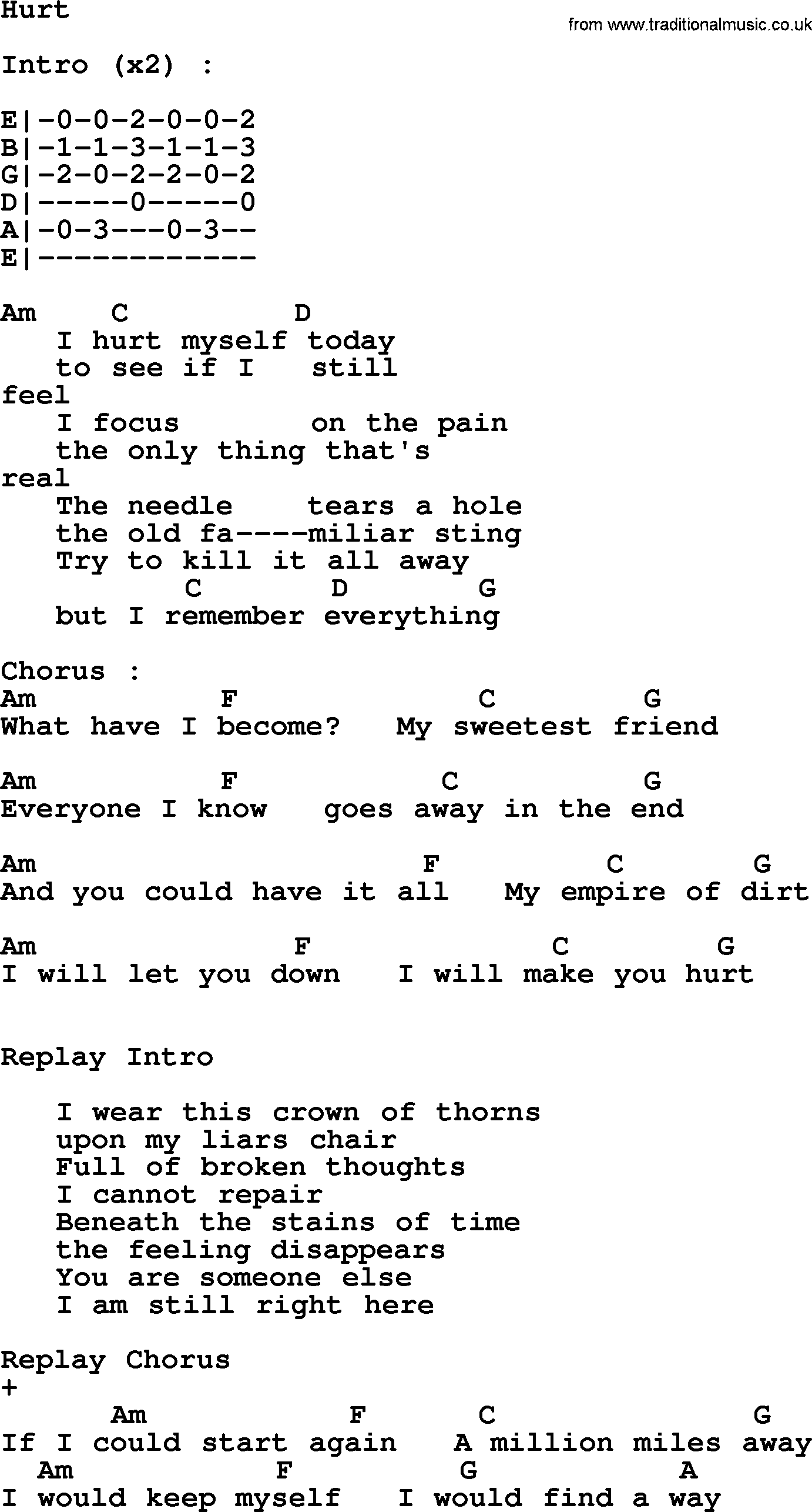 Johnny Cash Song Hurt Lyrics And Chords