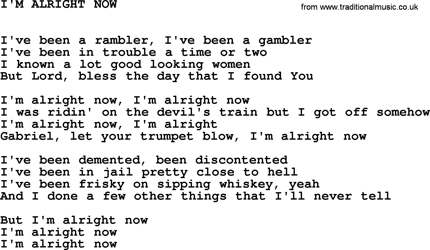 The Free - All Right Now Lyrics | MetroLyrics