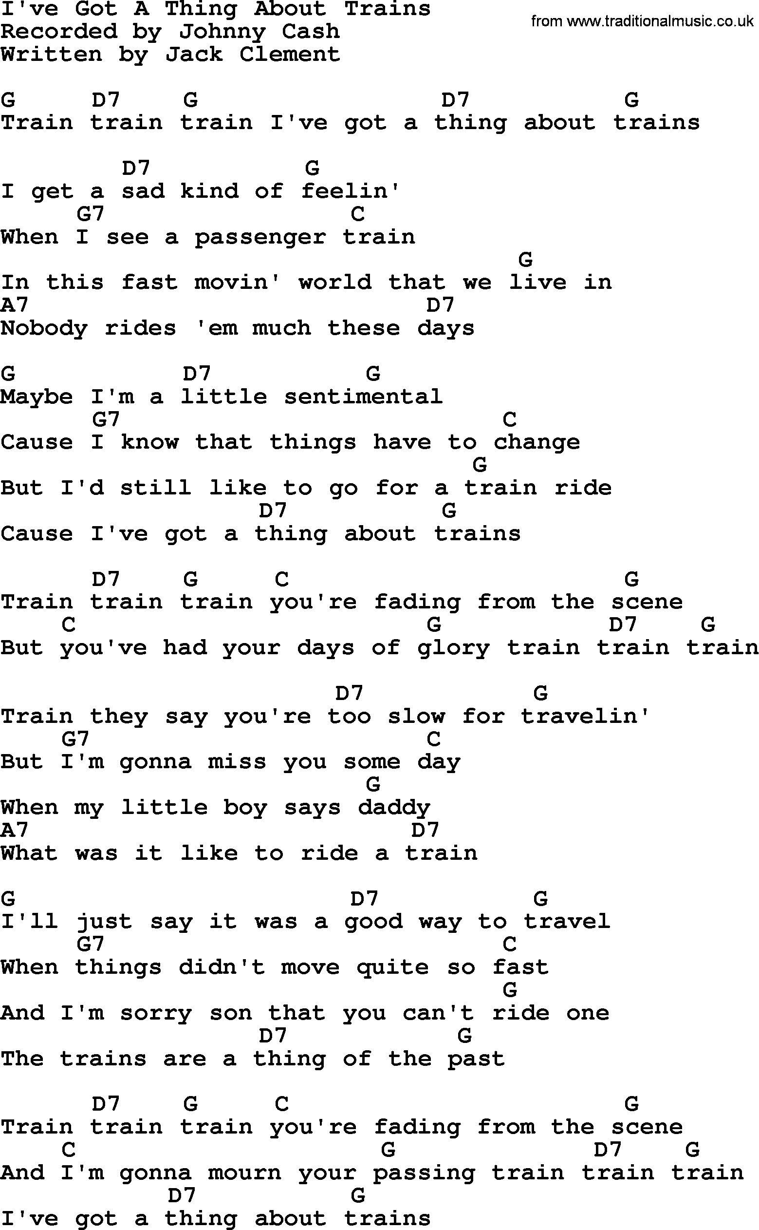 Johnny Cash Song Ive Got A Thing About Trains Lyrics And Chords
