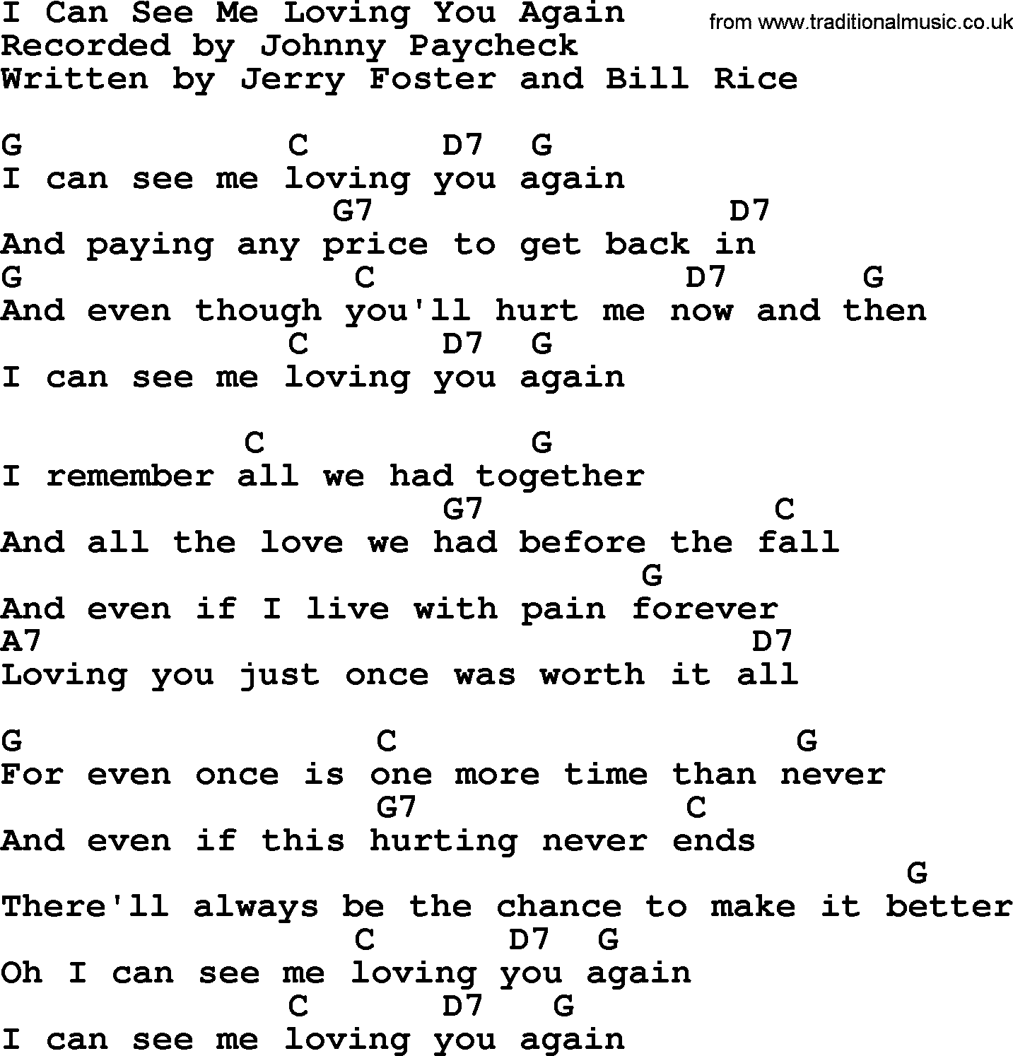 Johnny Cash song: I Can See Me Loving You Again, lyrics and chords