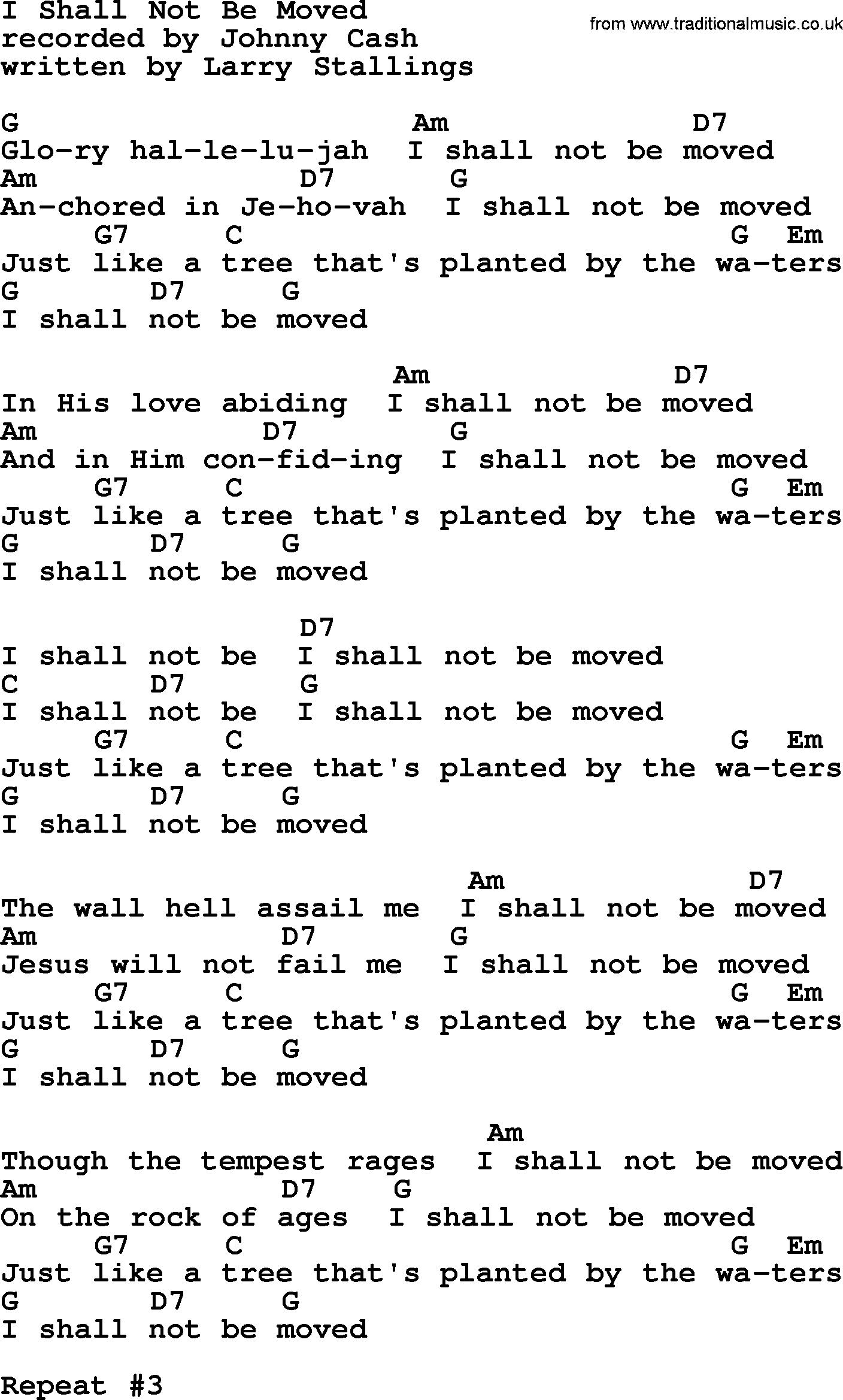 Johnny Cash Song I Shall Not Be Moved Lyrics And Chords