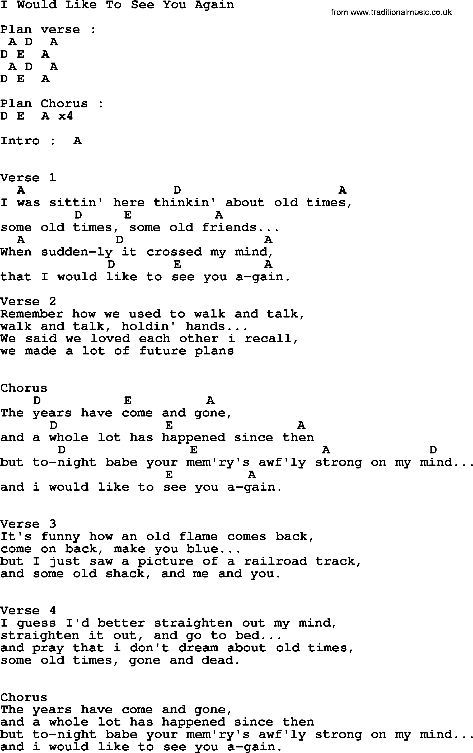 Johnny Cash song: I Would Like To See You Again, lyrics and chords