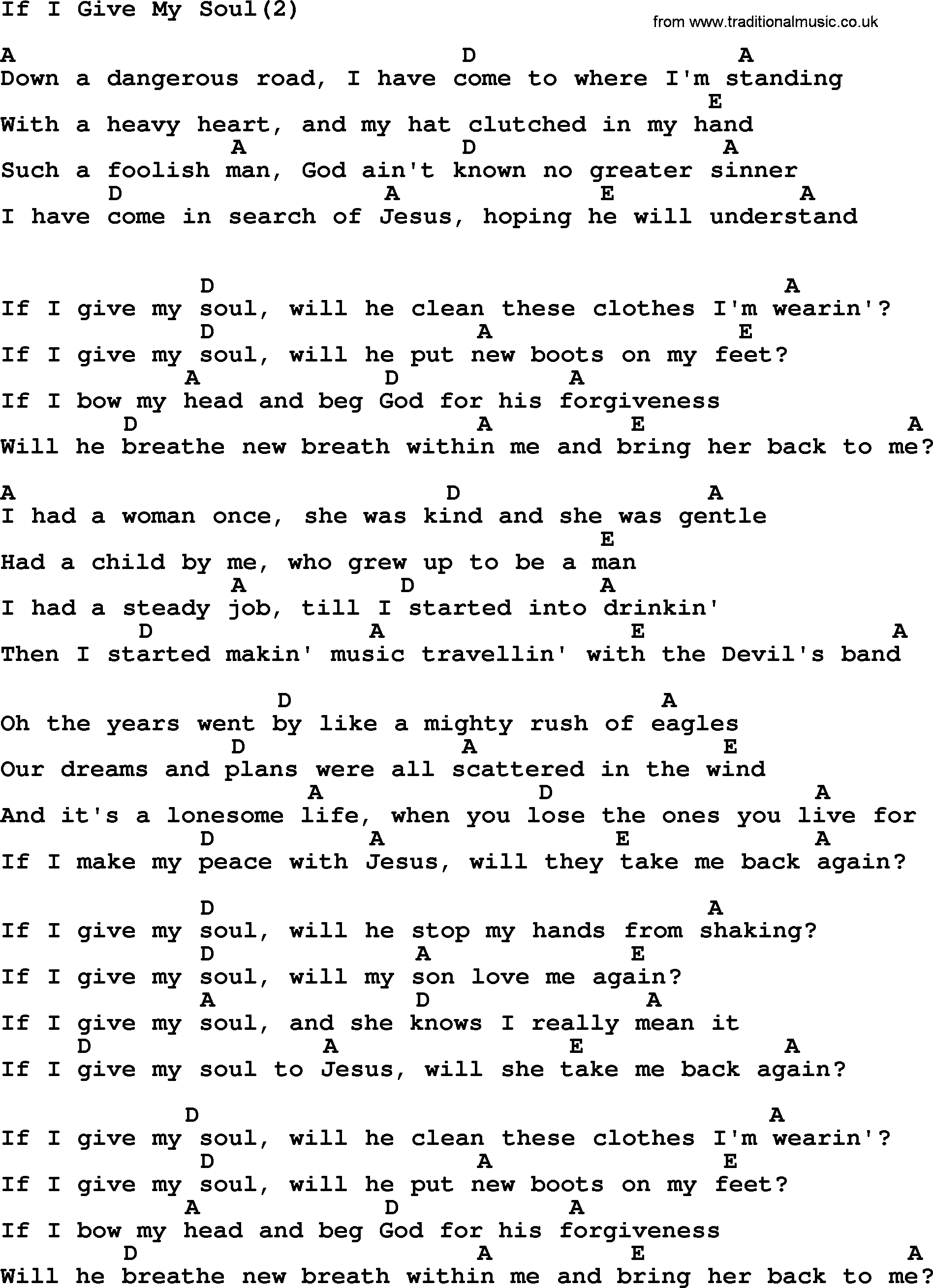 Johnny Cash Song If I Give My Soul2 Lyrics And Chords