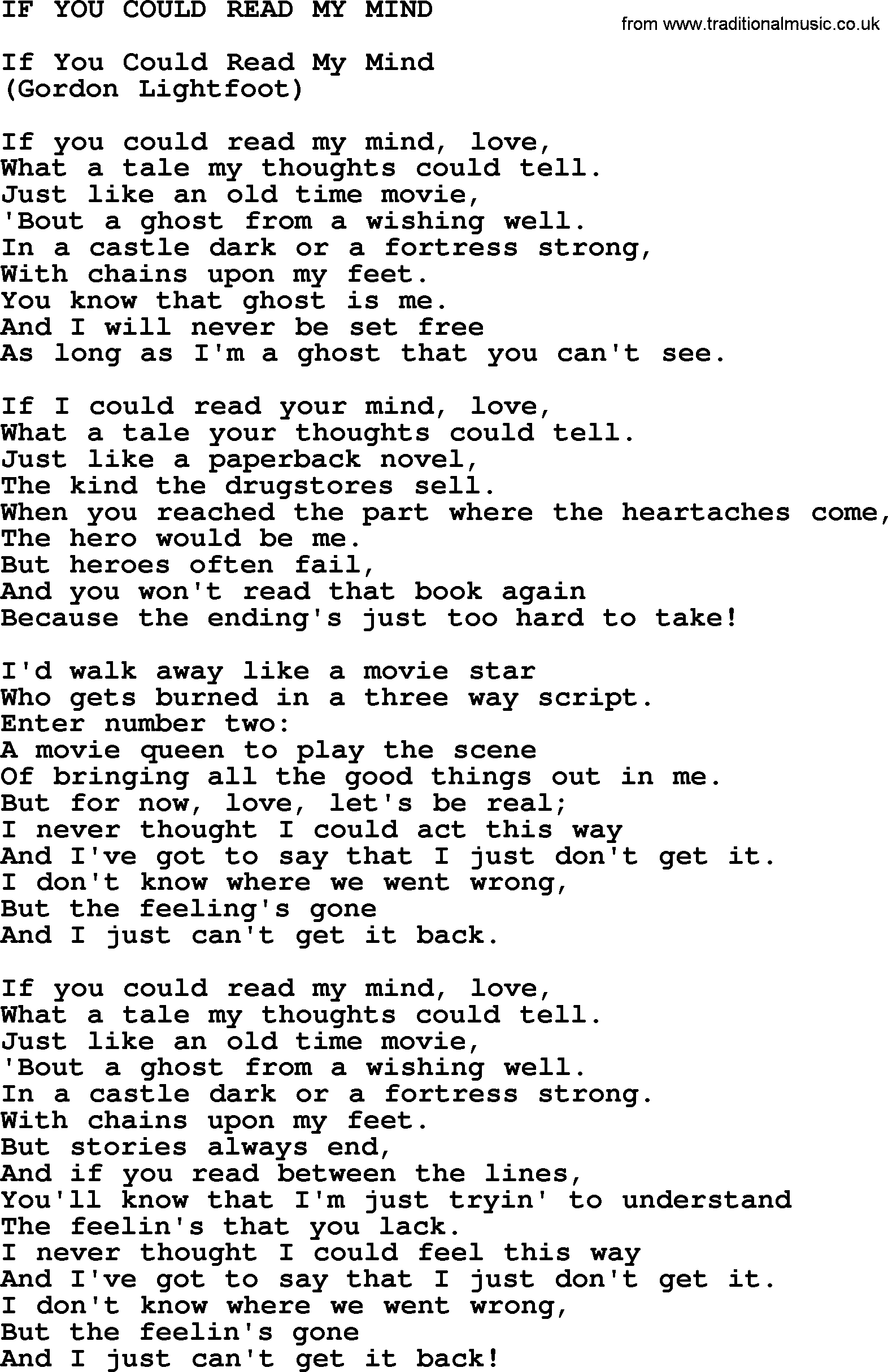 Gordon Lightfoot - If You Could Read My Mind (Chords)