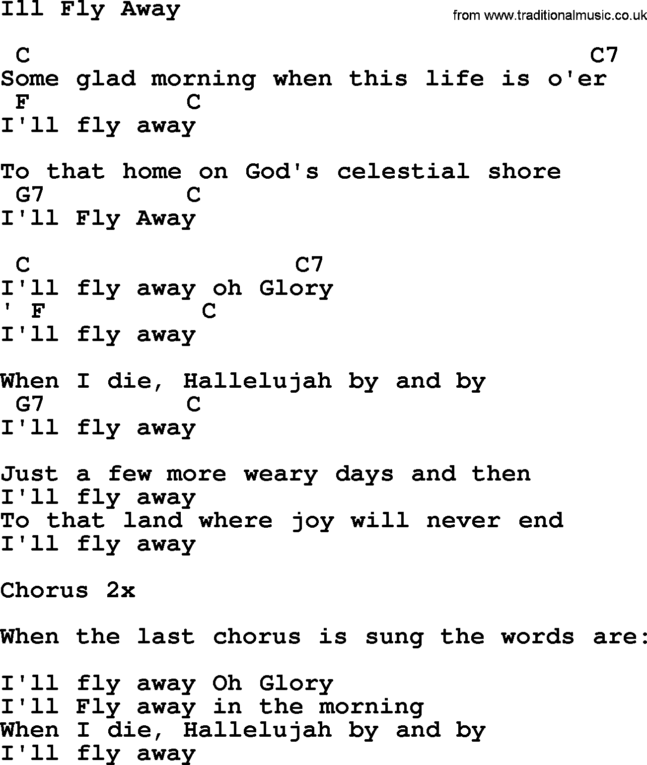 Johnny Cash Song Ill Fly Away Lyrics And Chords