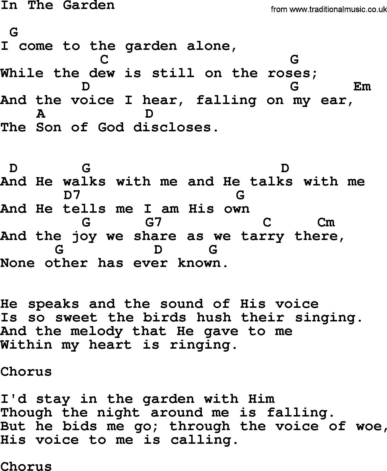 Johnny Cash Song In The Garden Lyrics And Chords