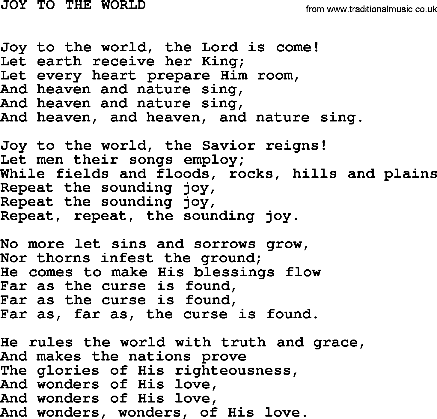 Johnny Cash song: Joy To The World, lyrics
