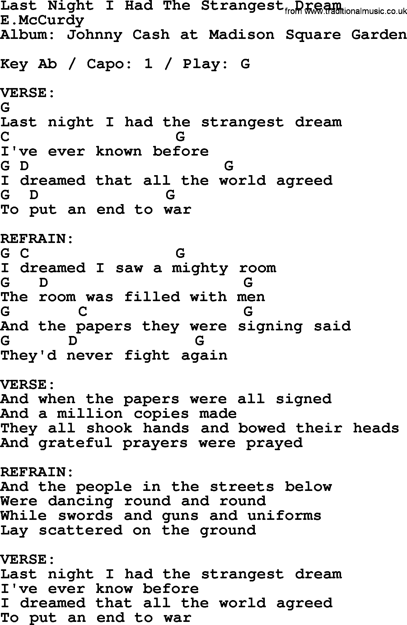 Johnny Cash Song Last Night I Had The Strangest Dream Lyrics And
