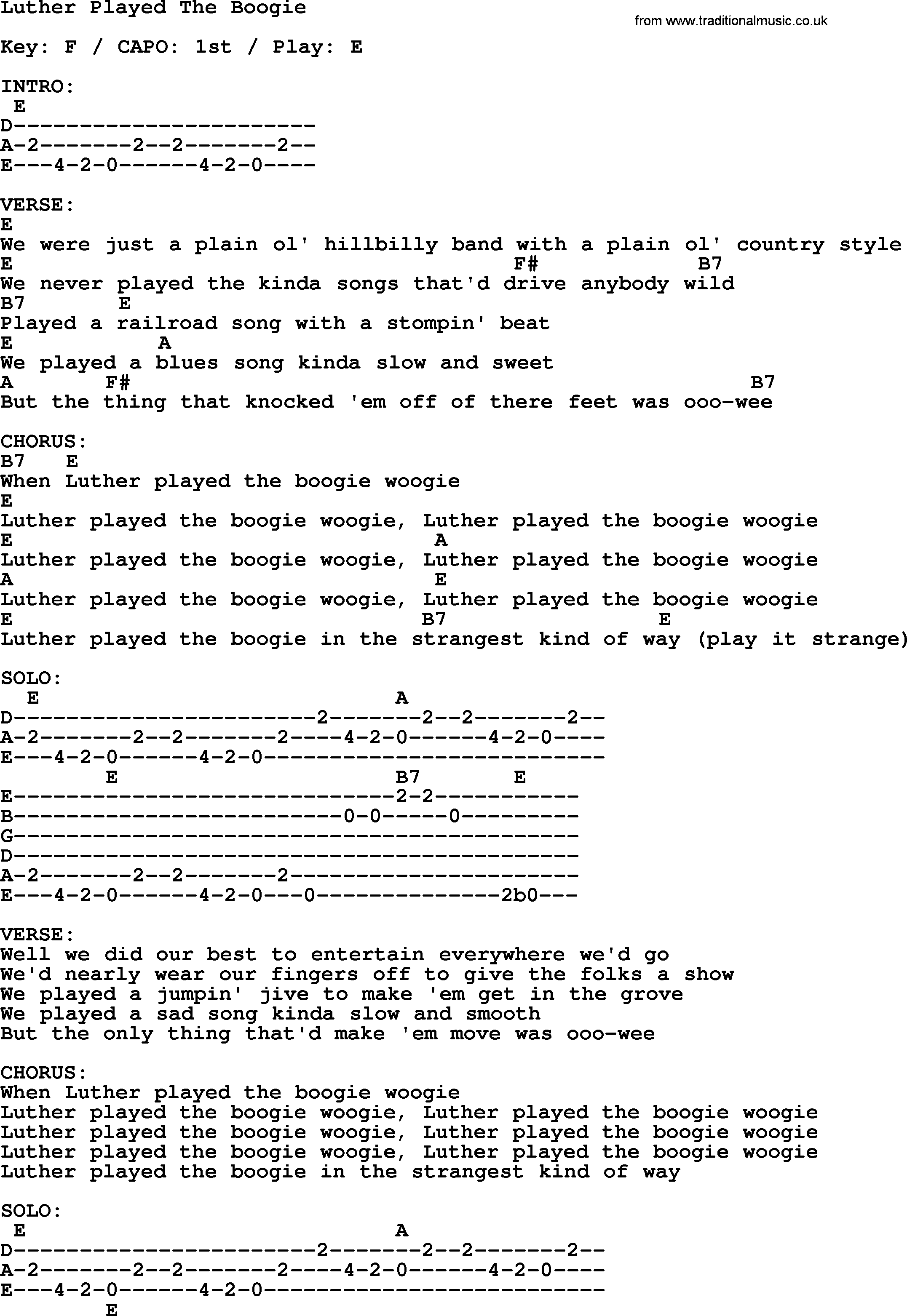 Johnny Cash Song Luther Played The Boogie Lyrics And Chords