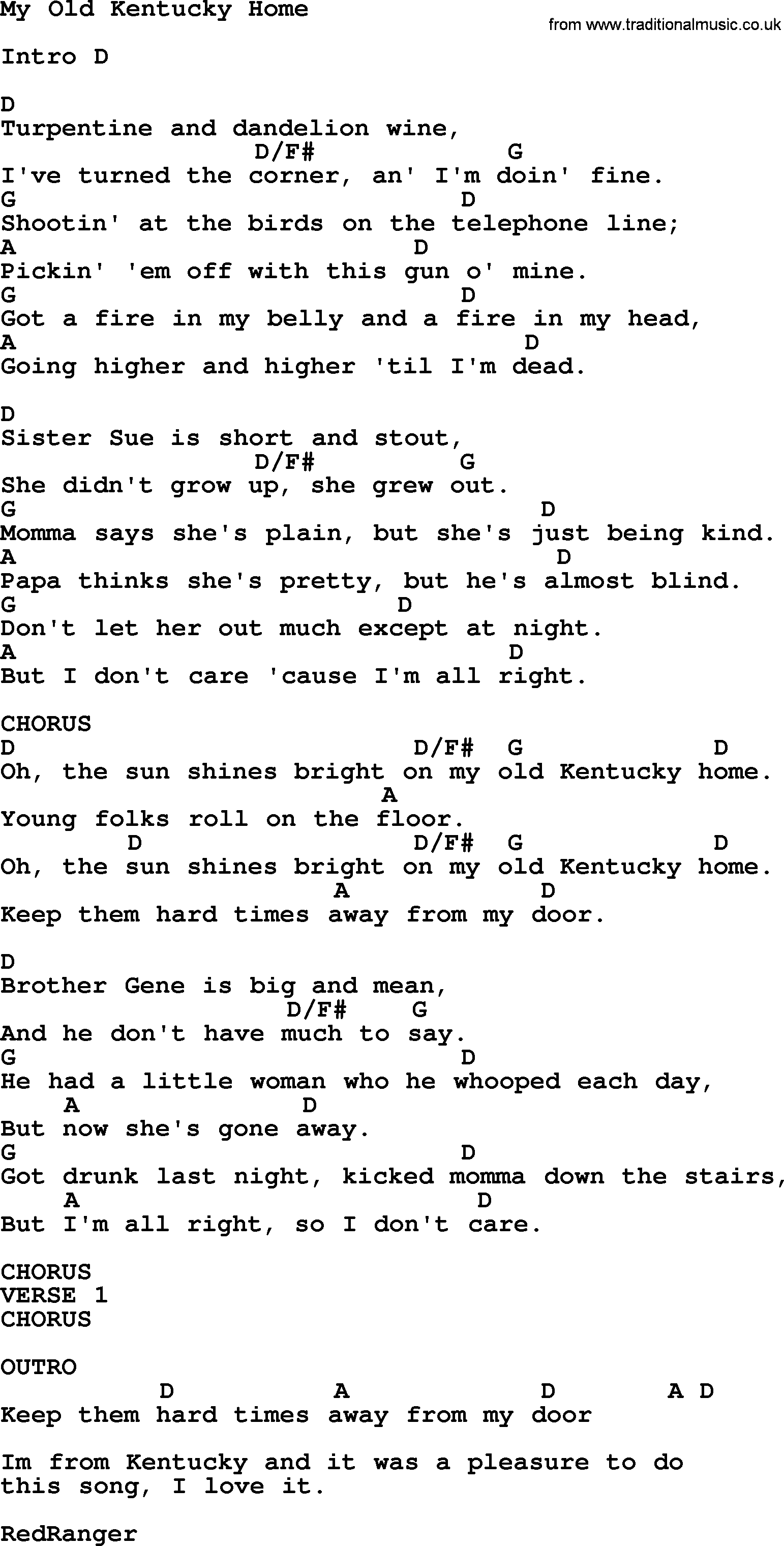 Johnny Cash song: My Old Kentucky Home, lyrics and chords