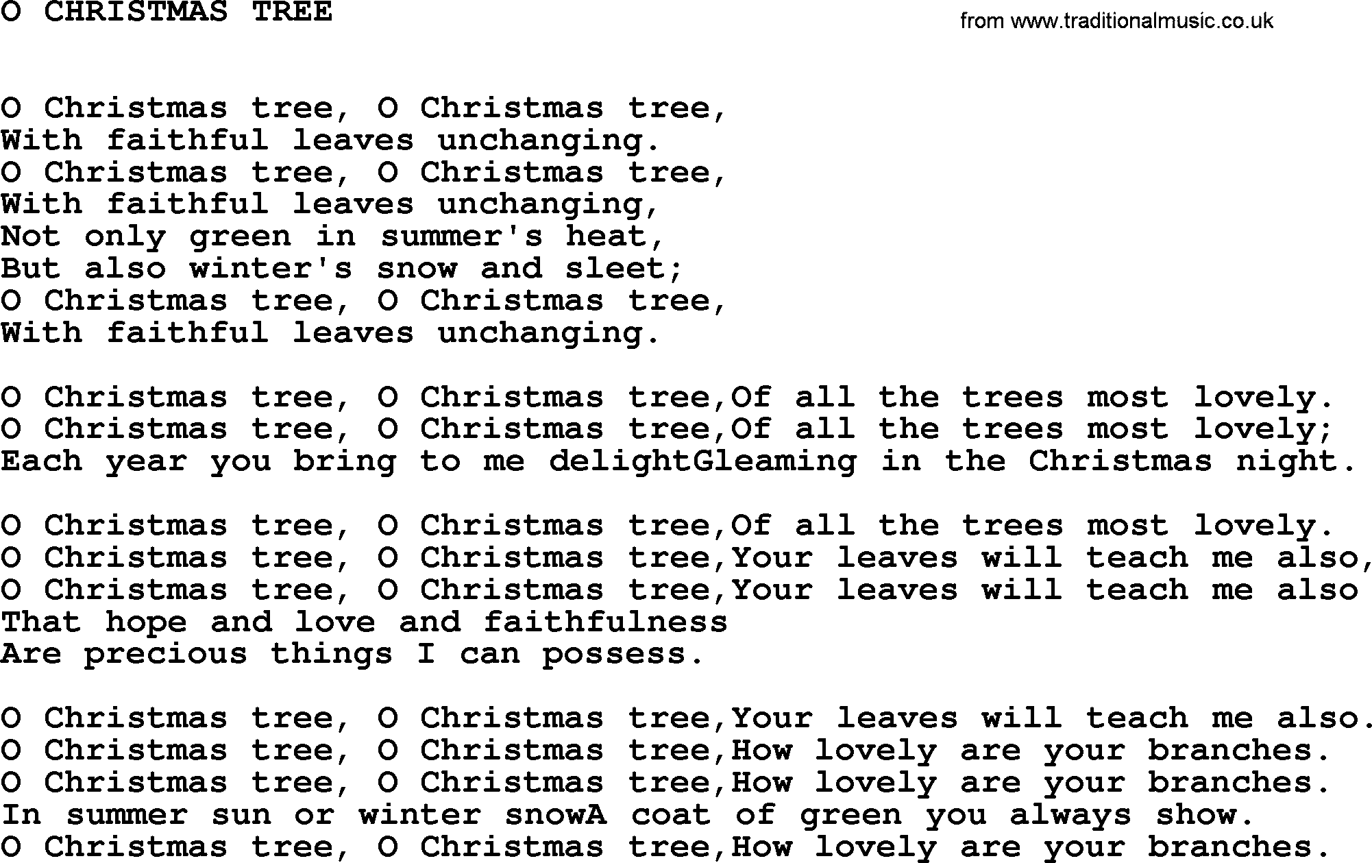 Johnny Cash Song: O Christmas Tree, Lyrics
