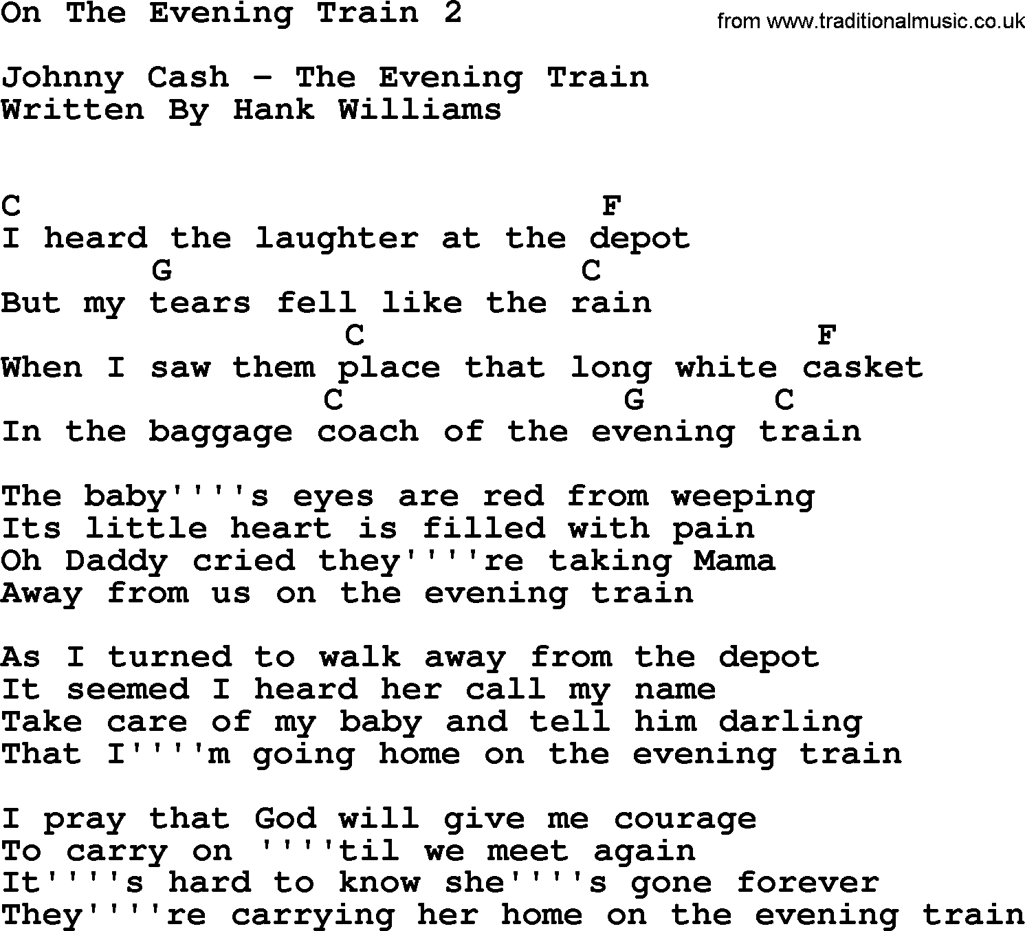 Johnny Cash Song On The Evening Train 2 Lyrics And Chords