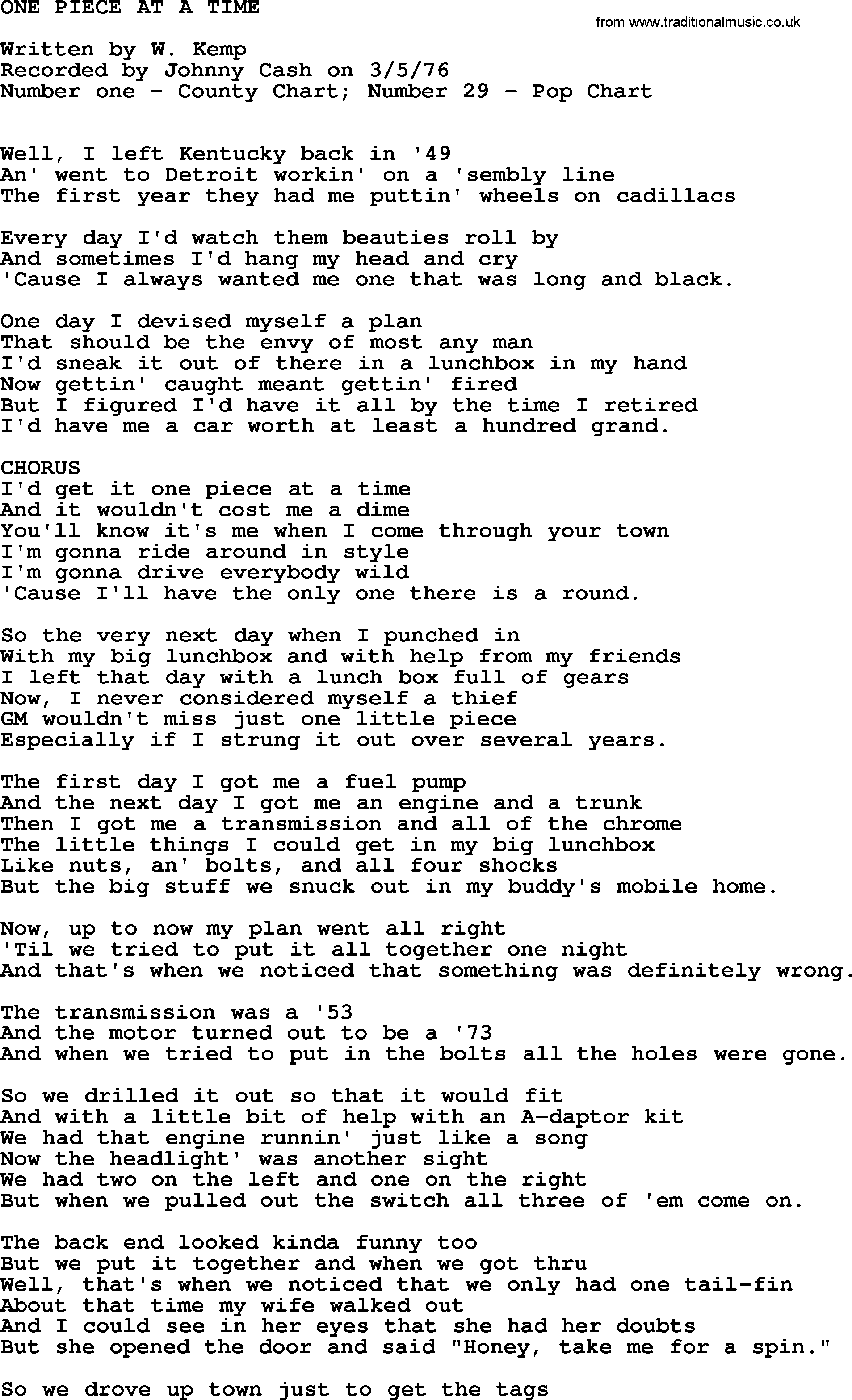 Johnny Cash Song One Piece At A Time Lyrics
