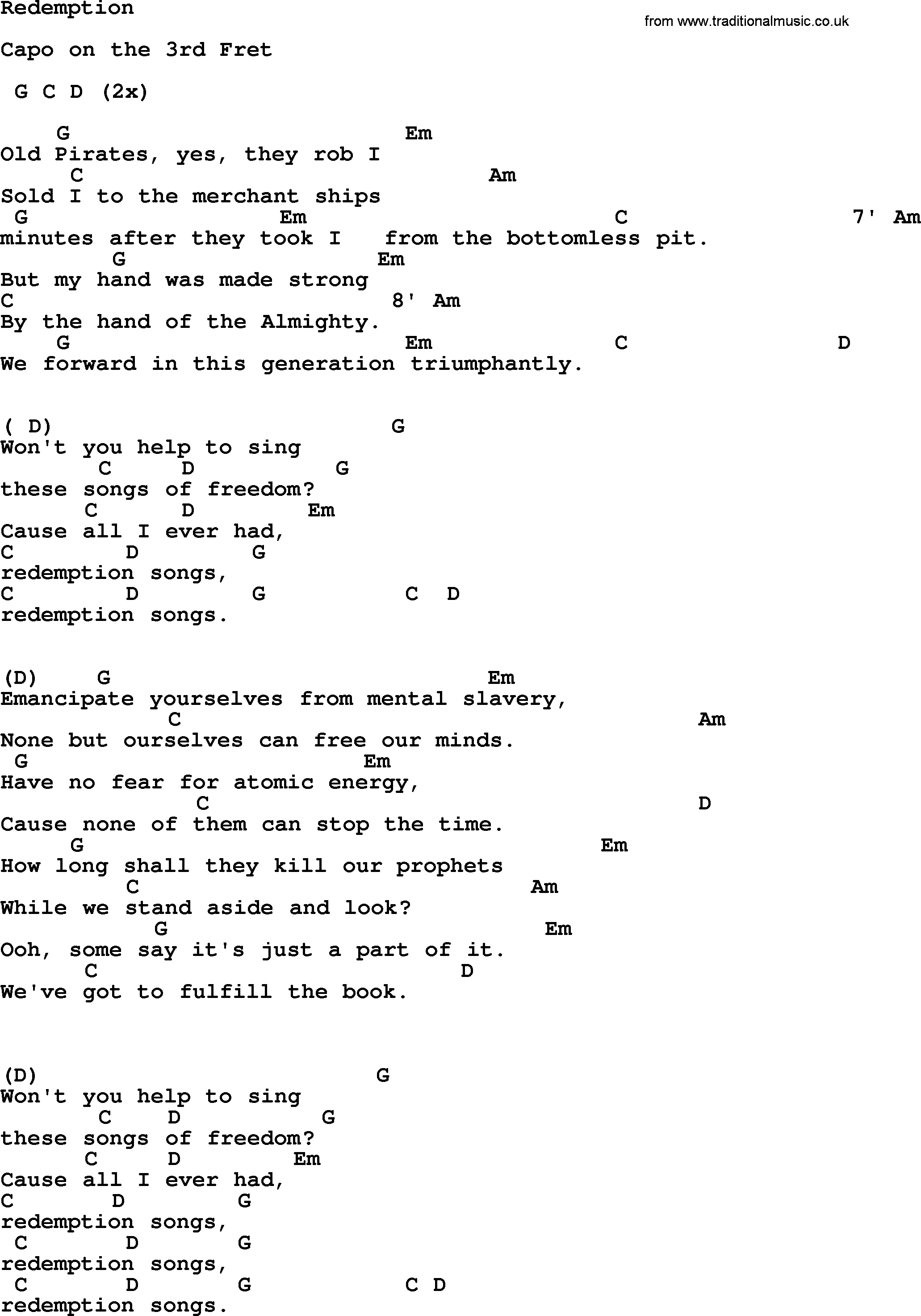 Johnny Cash song: Redemption, lyrics and chords