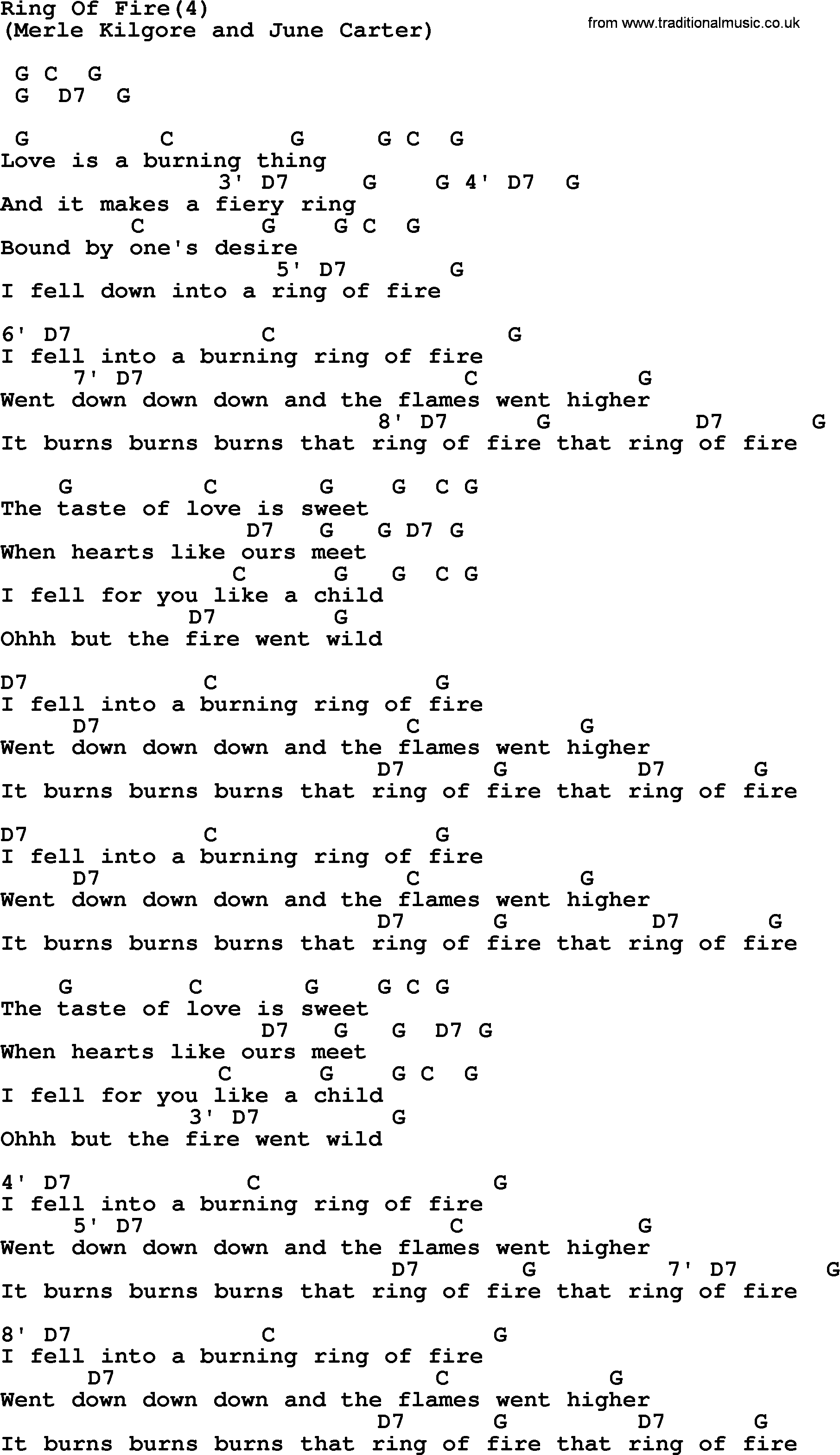 Johnny Cash song: Ring Of Fire(4), lyrics and chords