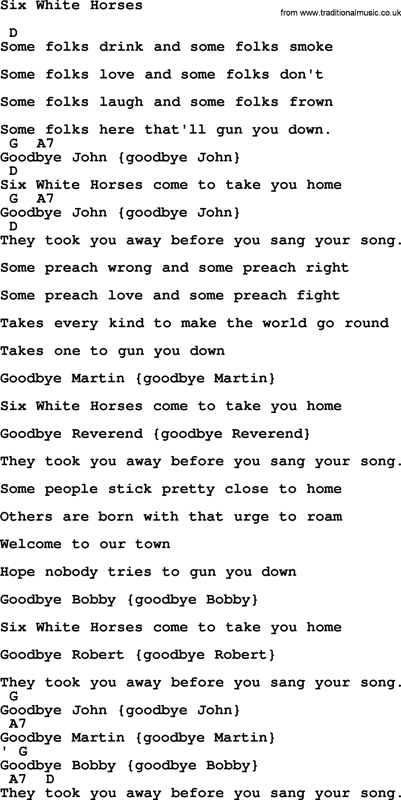 Johnny Cash Song Six White Horses Lyrics And Chords