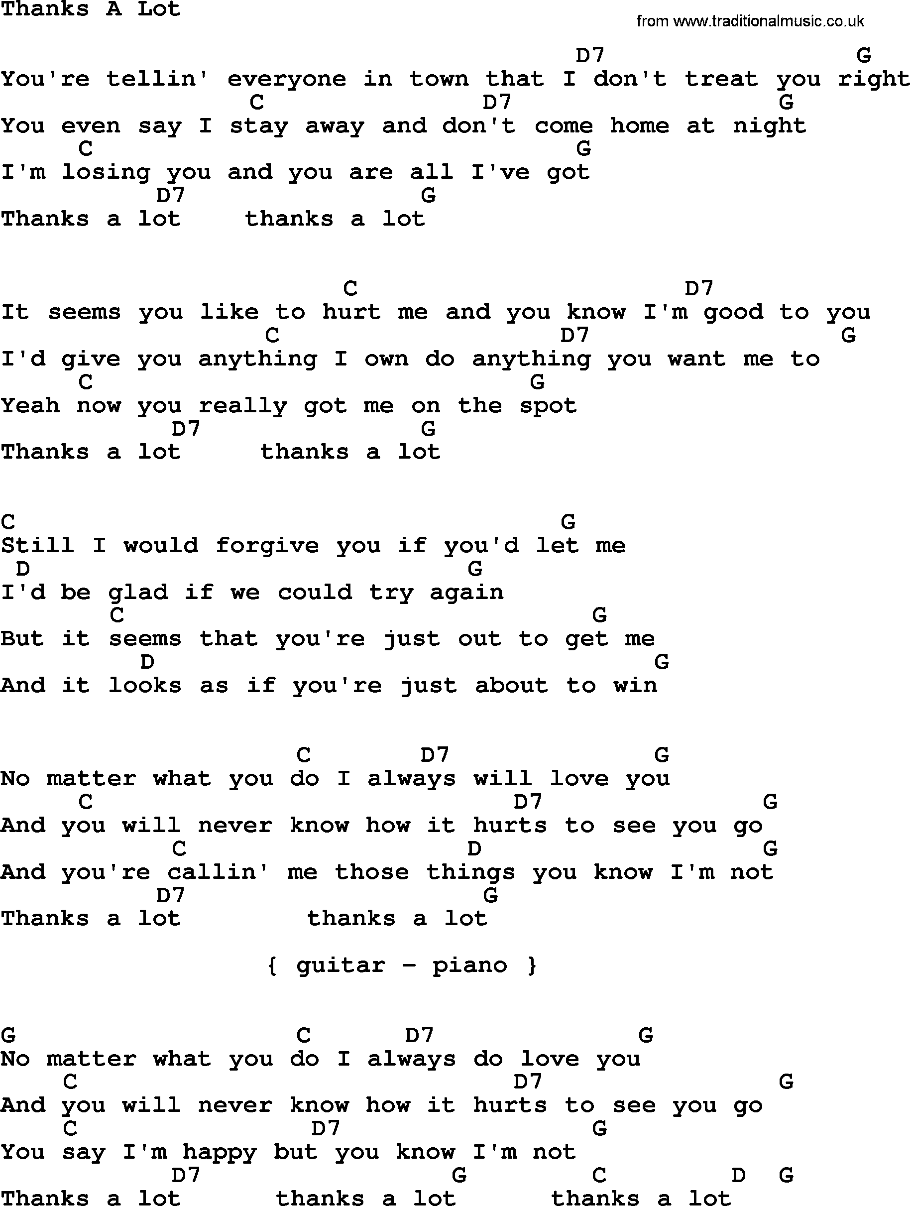 Johnny Cash Song Thanks A Lot Lyrics And Chords