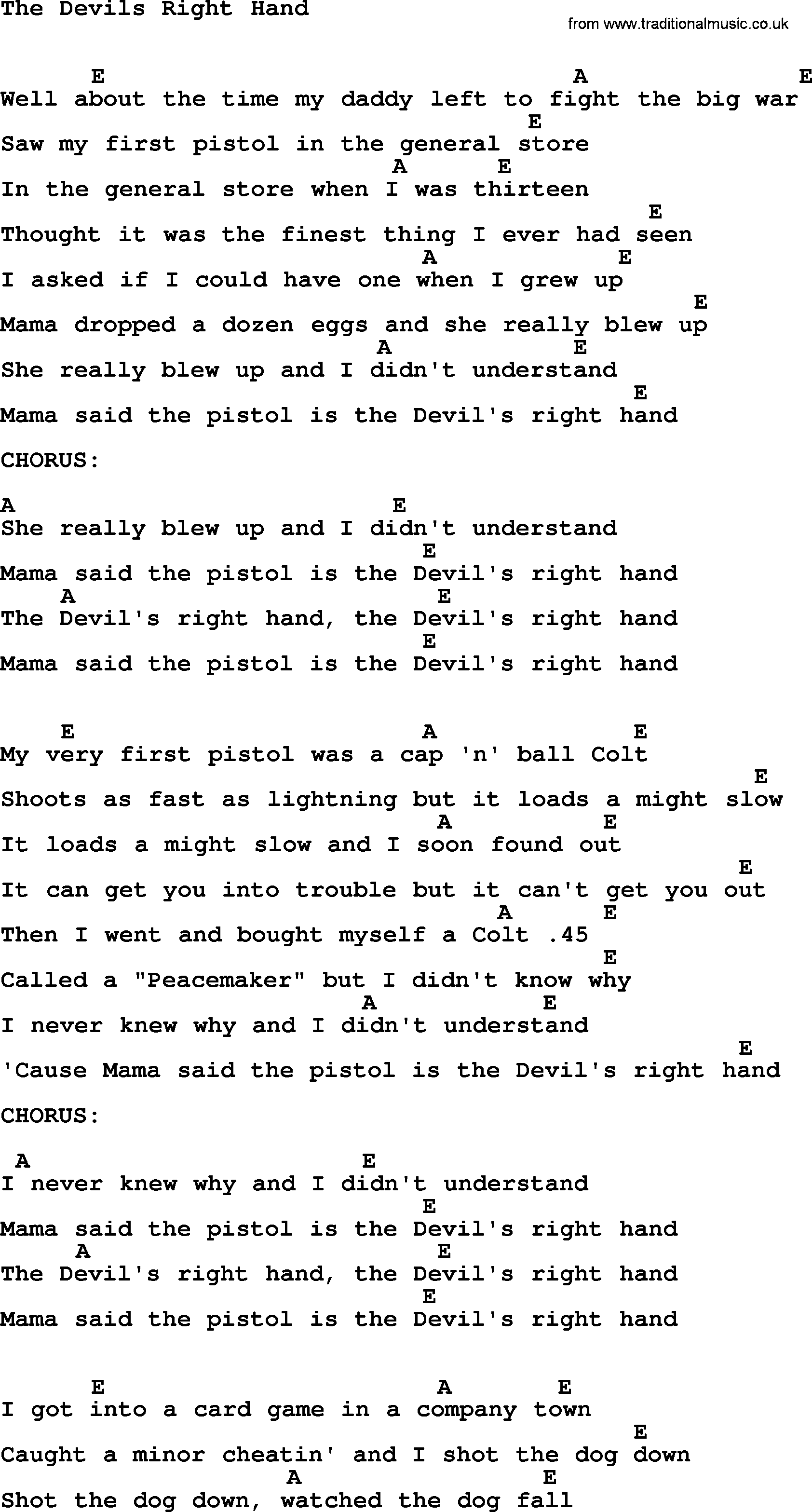 Johnny Cash song The Devils Right Hand, lyrics and chords