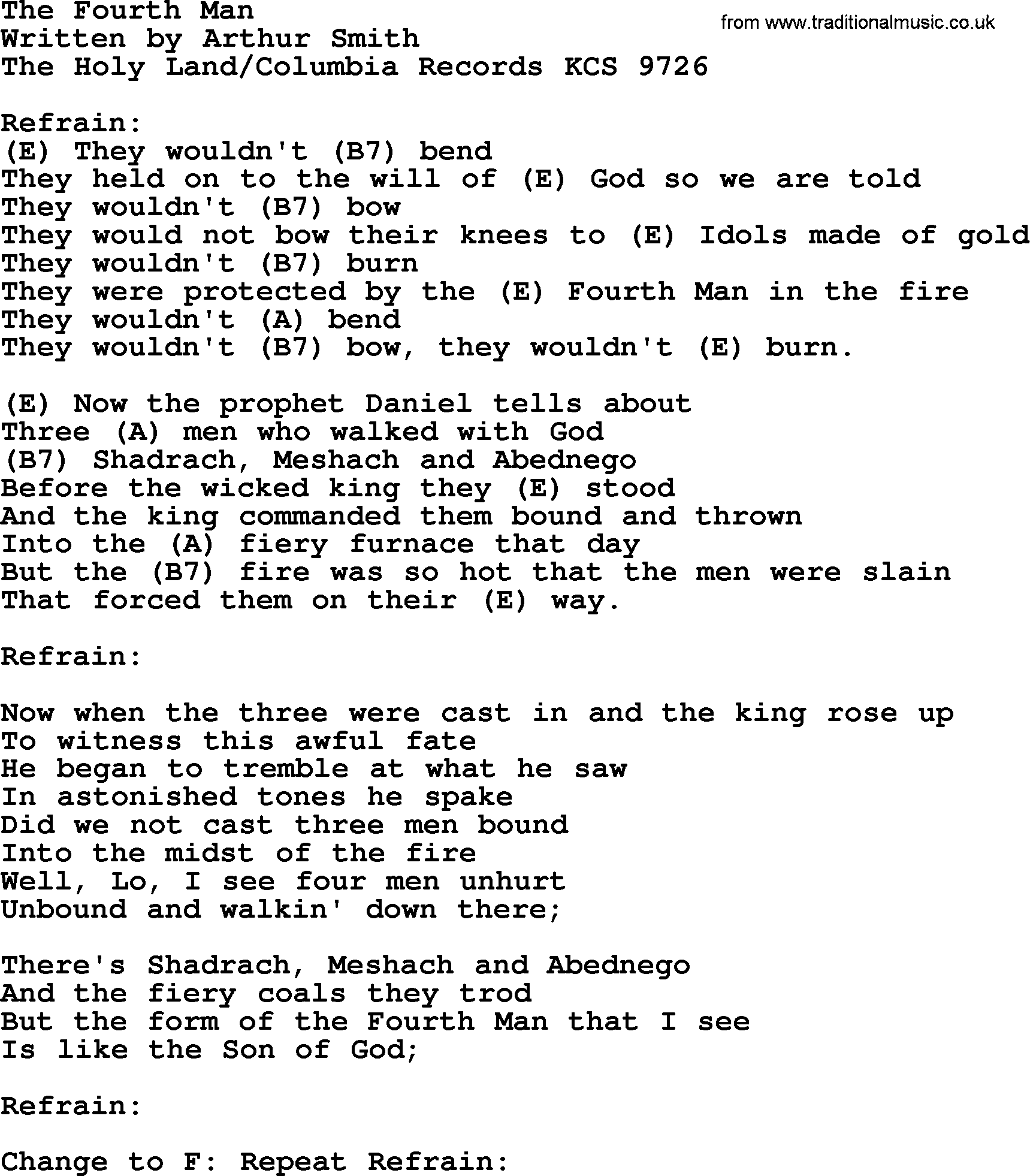 Johnny Cash song: The Fourth Man, lyrics and chords