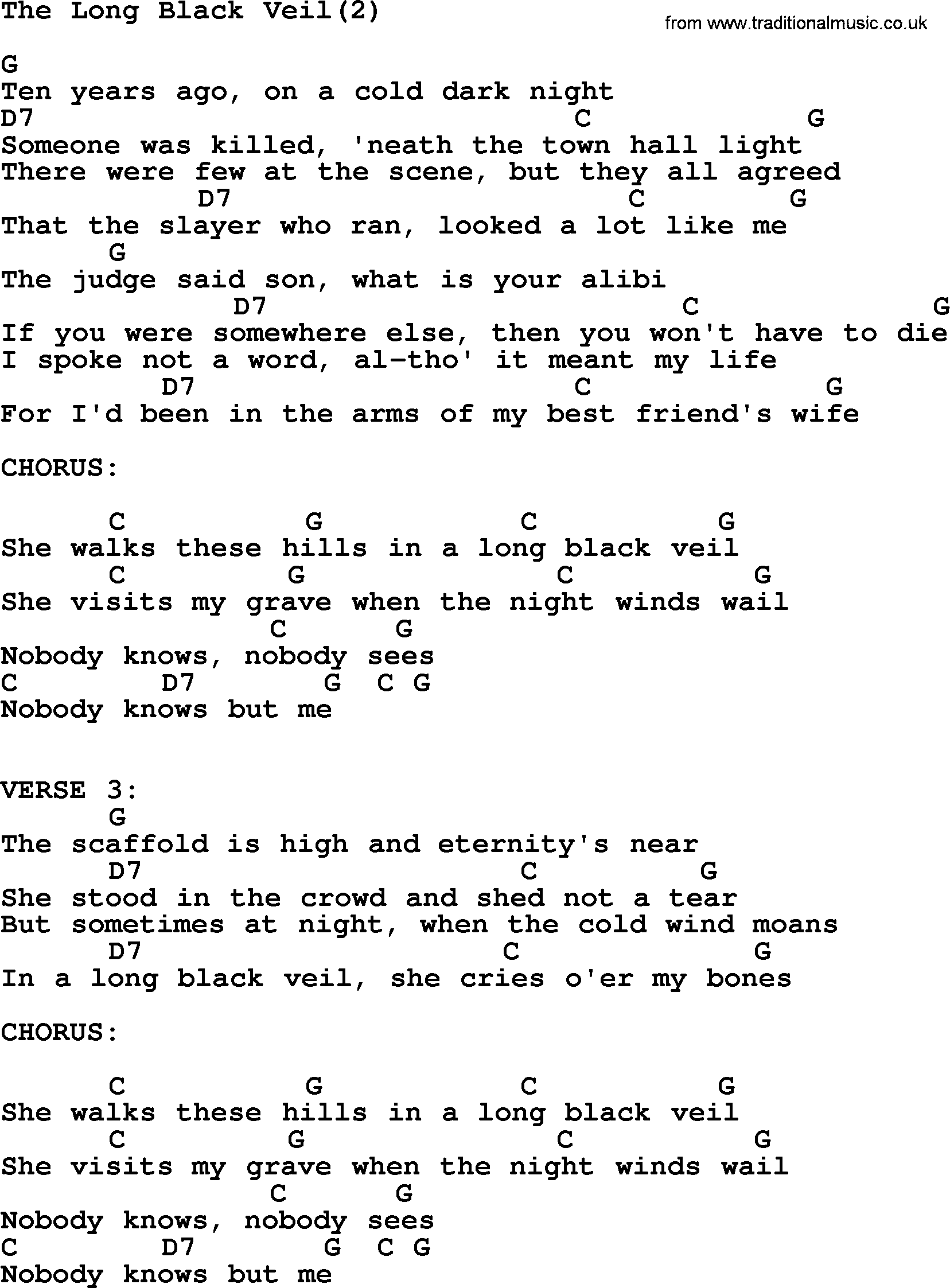 Johnny Cash Song The Long Black Veil2 Lyrics And Chords