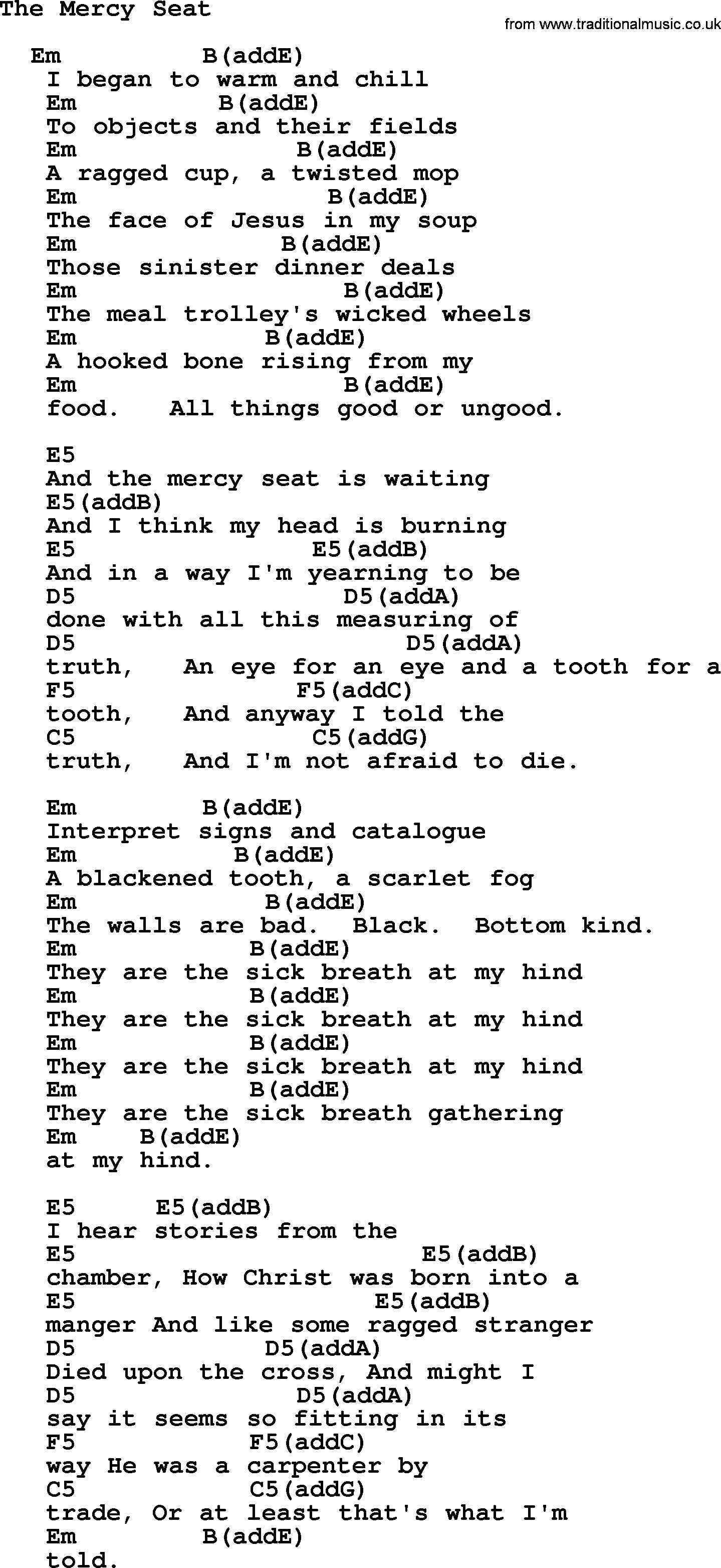 Johnny Cash Song The Mercy Seat Lyrics And Chords