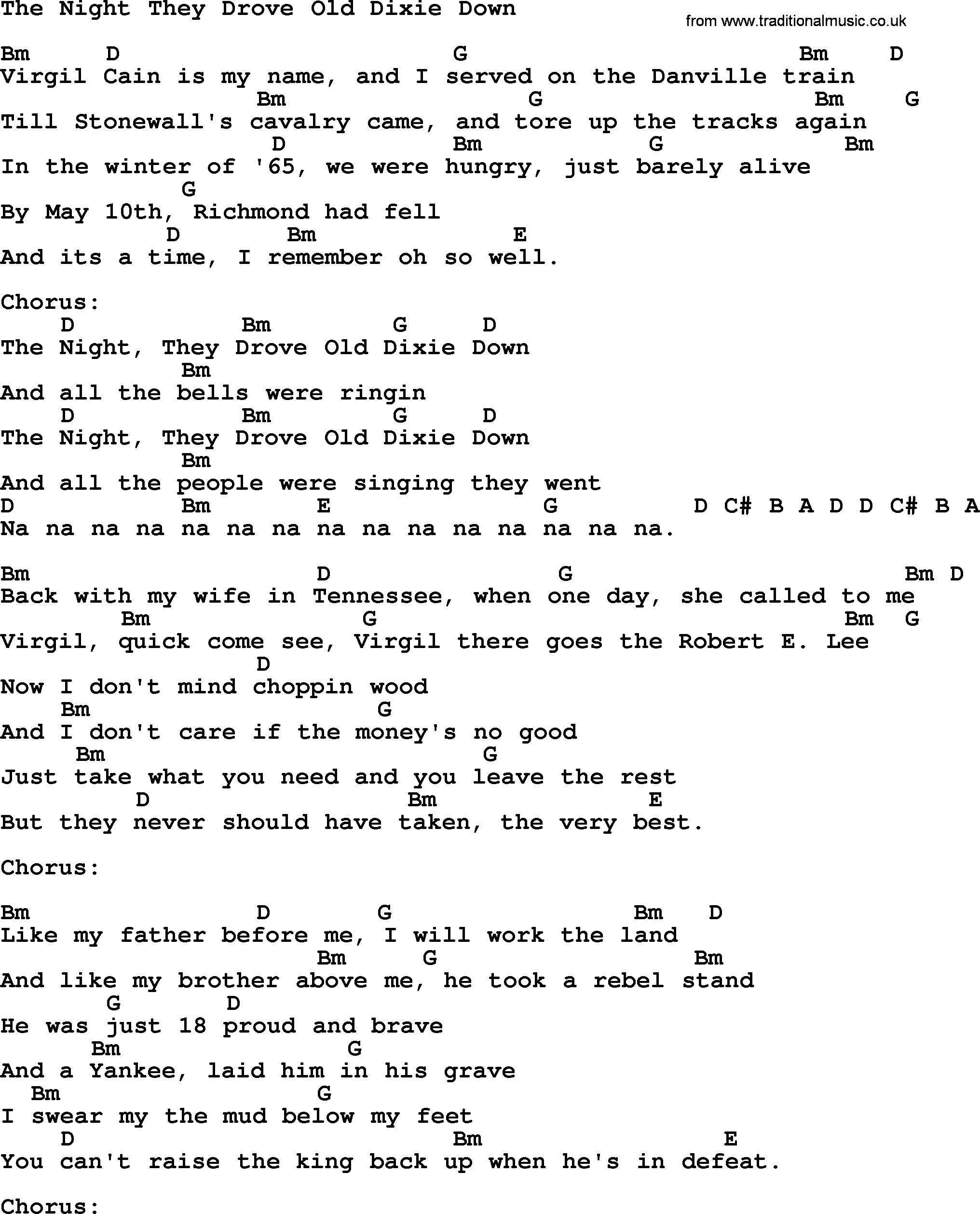 Johnny Cash Song The Night They Drove Old Dixie Down Lyrics And Chords