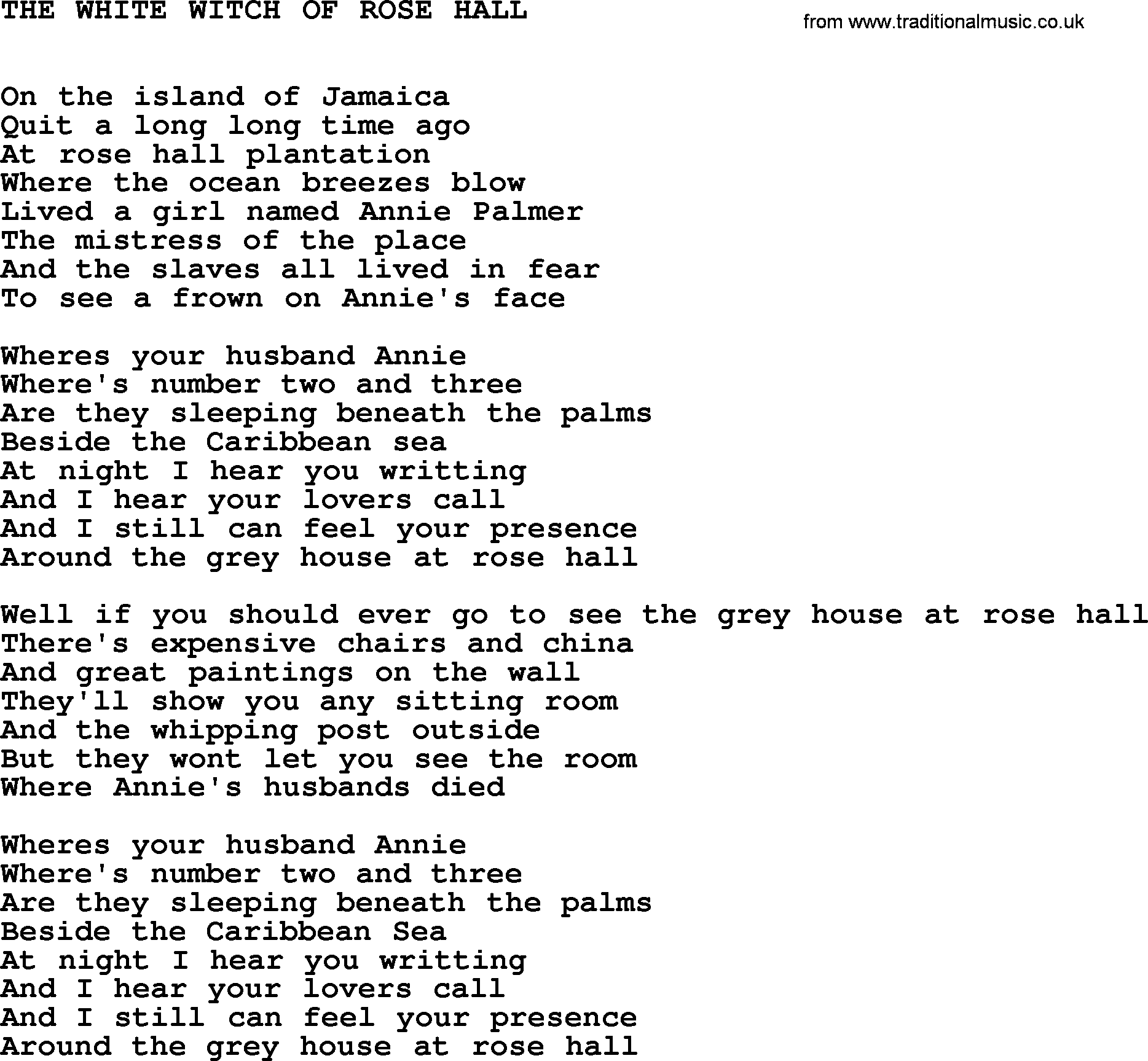 Johnny Cash song The White Witch Of Rose Hall, lyrics