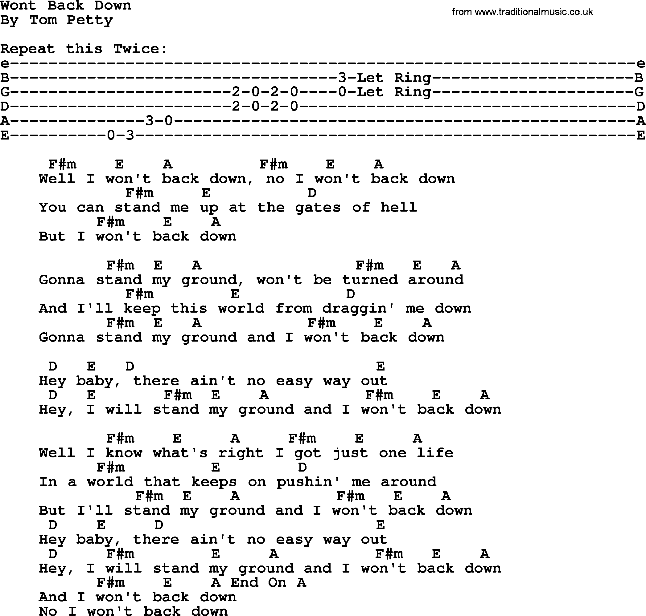 I Won't Back Down Chords by Tom Petty | Songsterr Tabs ...