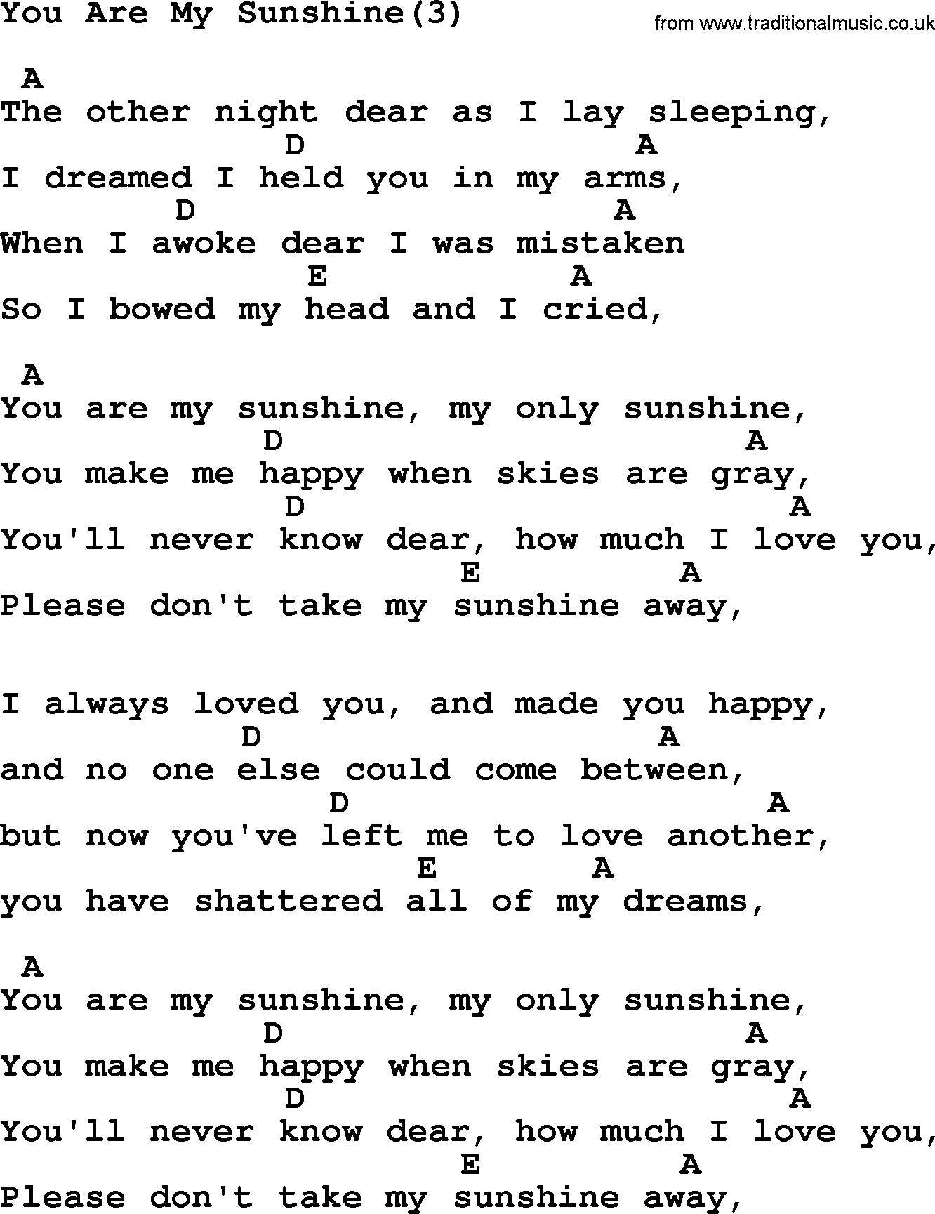 Johnny Cash song: You Are My Sunshine(3), lyrics and chords