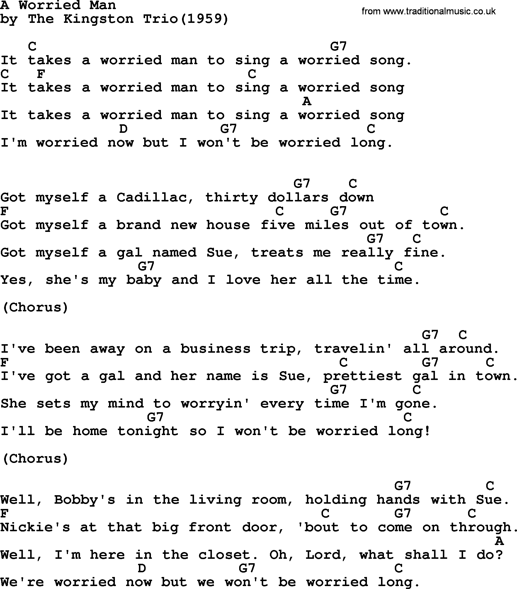 Kingston Trio song: A Worried Man, lyrics and chords
