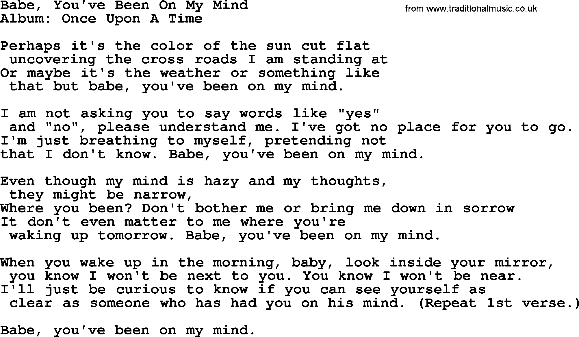 Kingston Trio Song Babe Youve Been On My Mind Lyrics