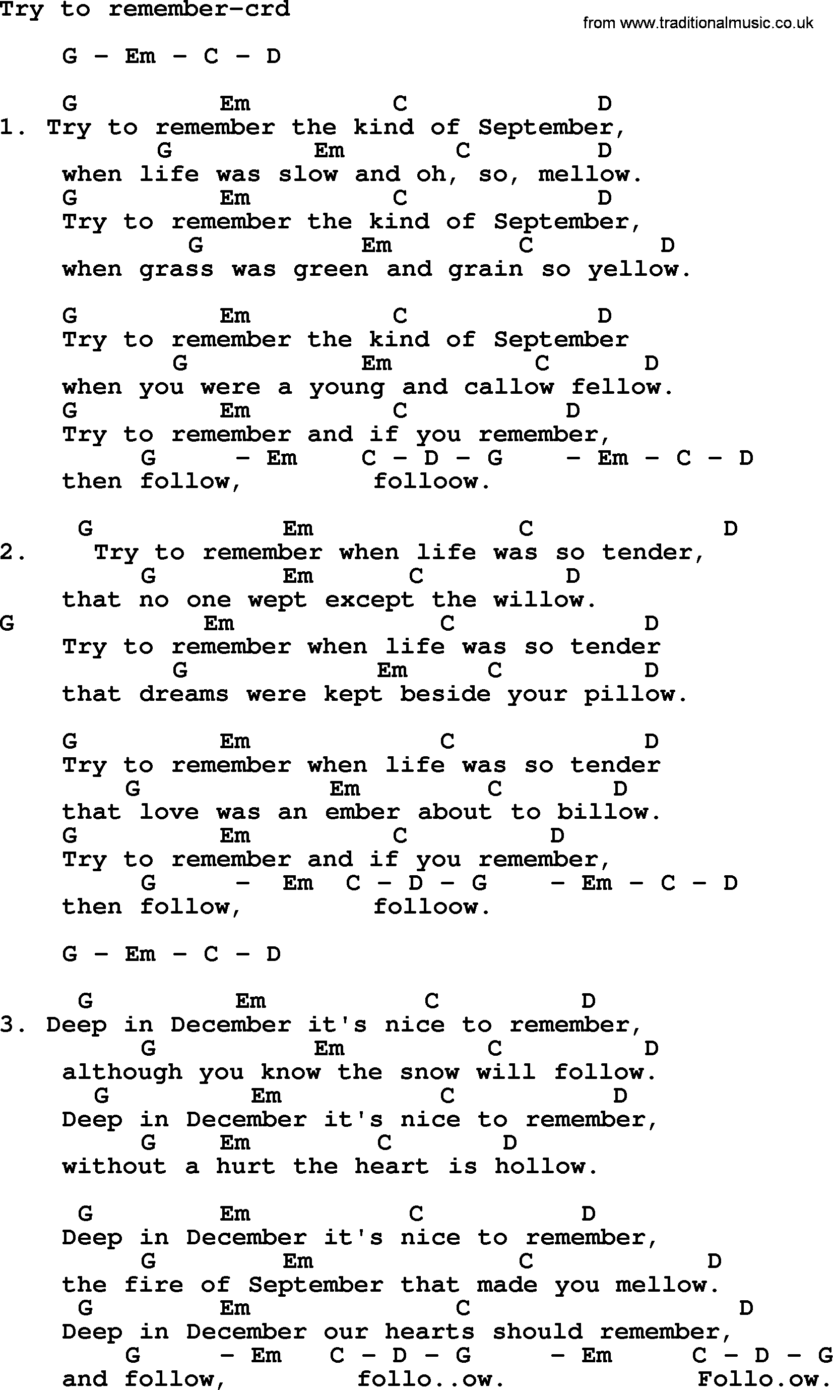Kingston trio song try to remember lyrics and chords kingston trio song try to remember lyrics and chords hexwebz Image collections