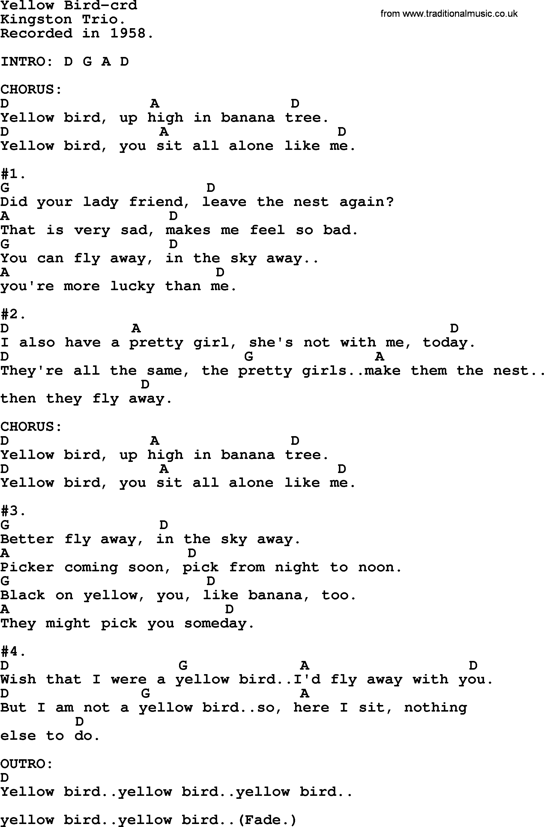 Kingston Trio Song Yellow Bird Lyrics And Chords