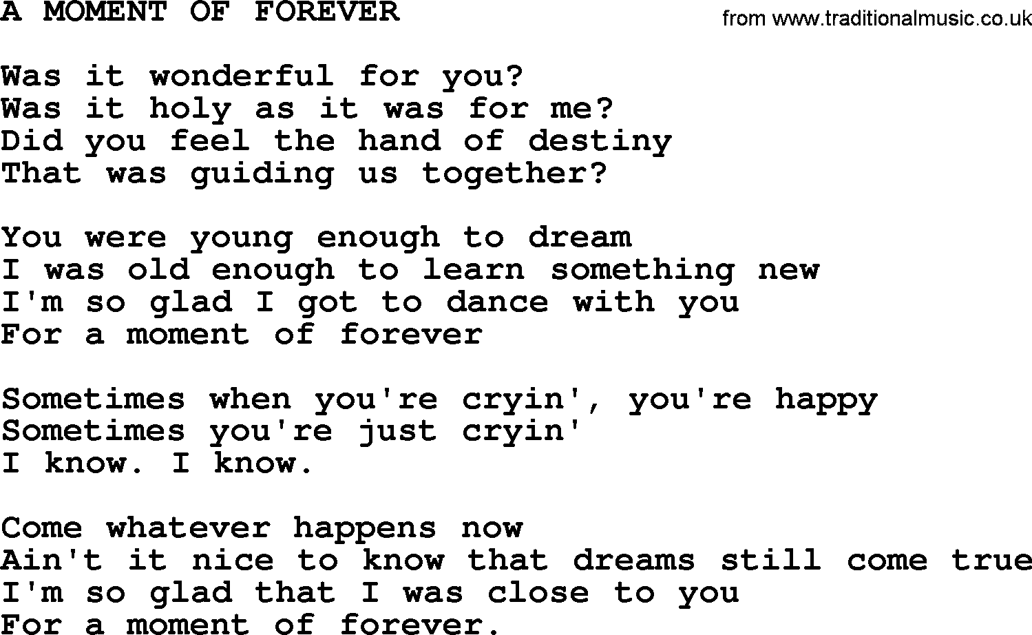 Kris kristofferson song a moment of forevertxt lyrics and chords kris kristofferson song a moment of forever lyrics hexwebz Image collections