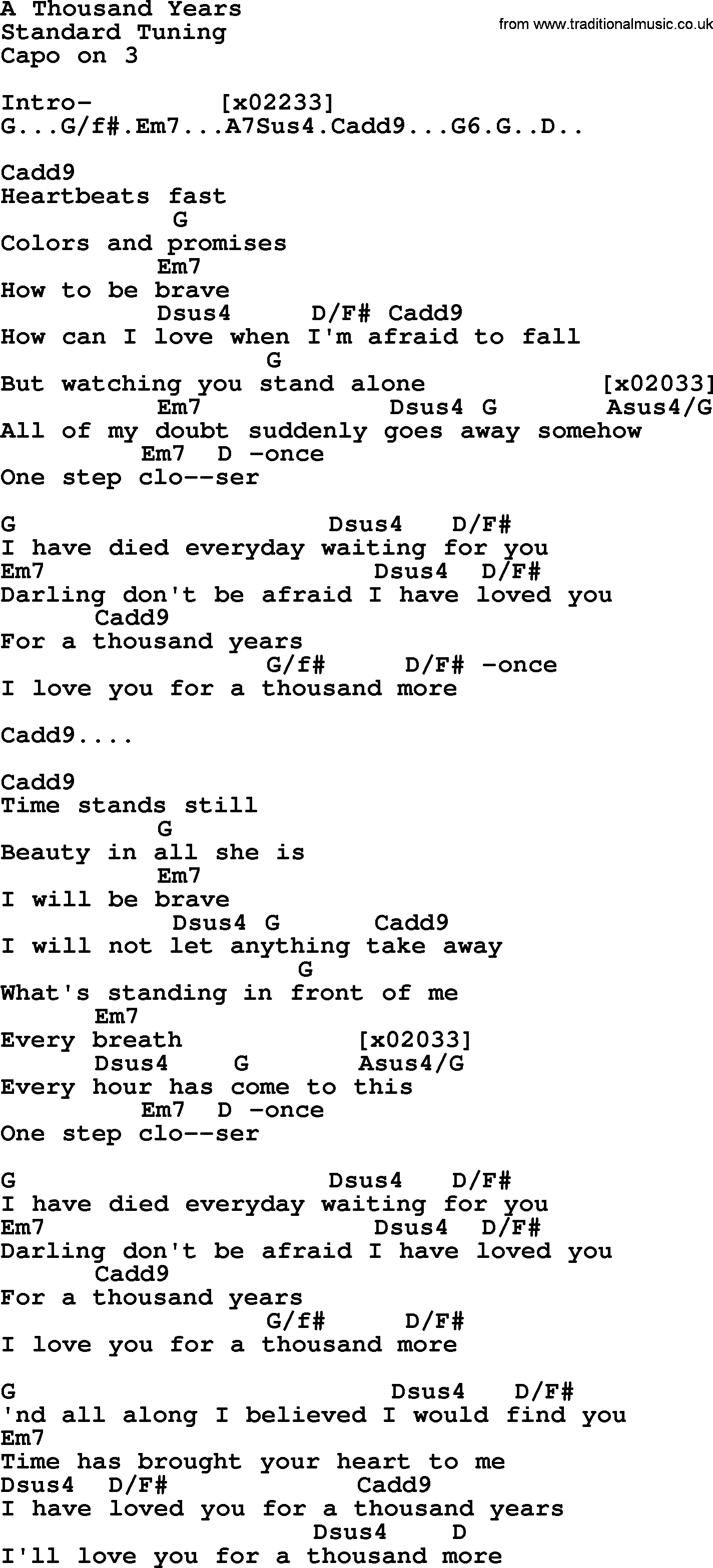 thousand years lyrics