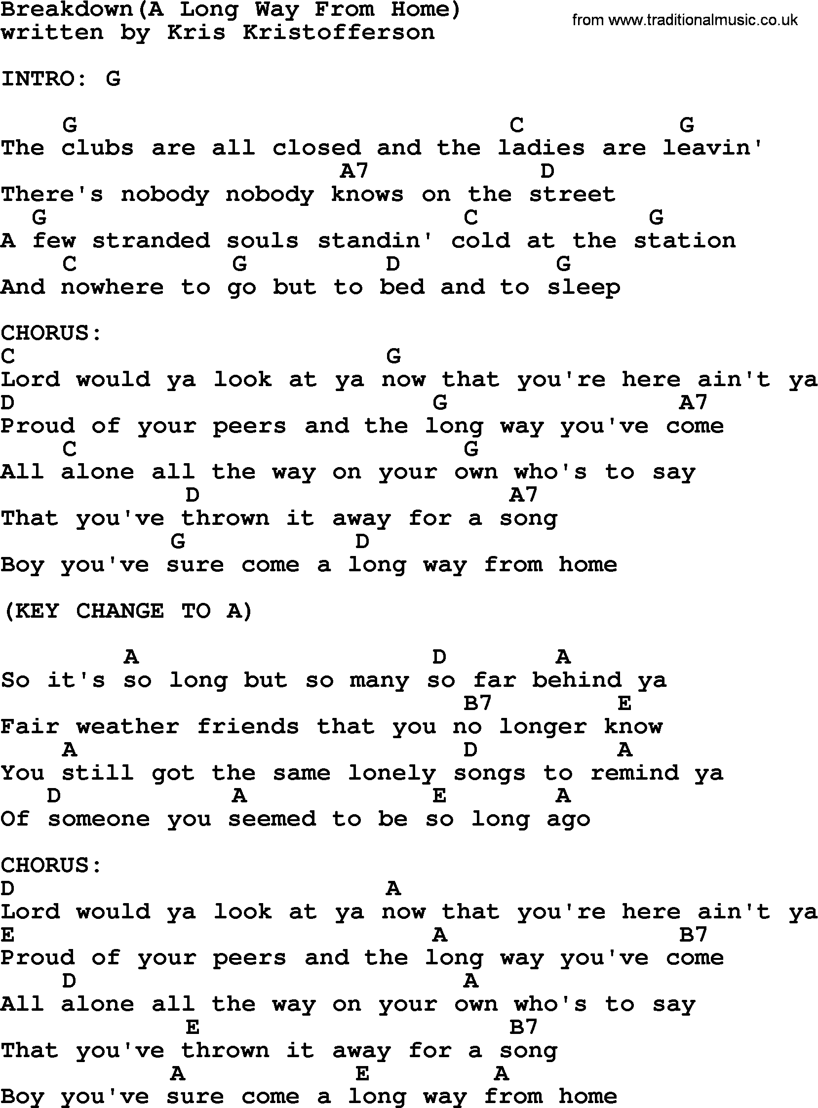 Kris Kristofferson Song Breakdowna Long Way From Home Lyrics And