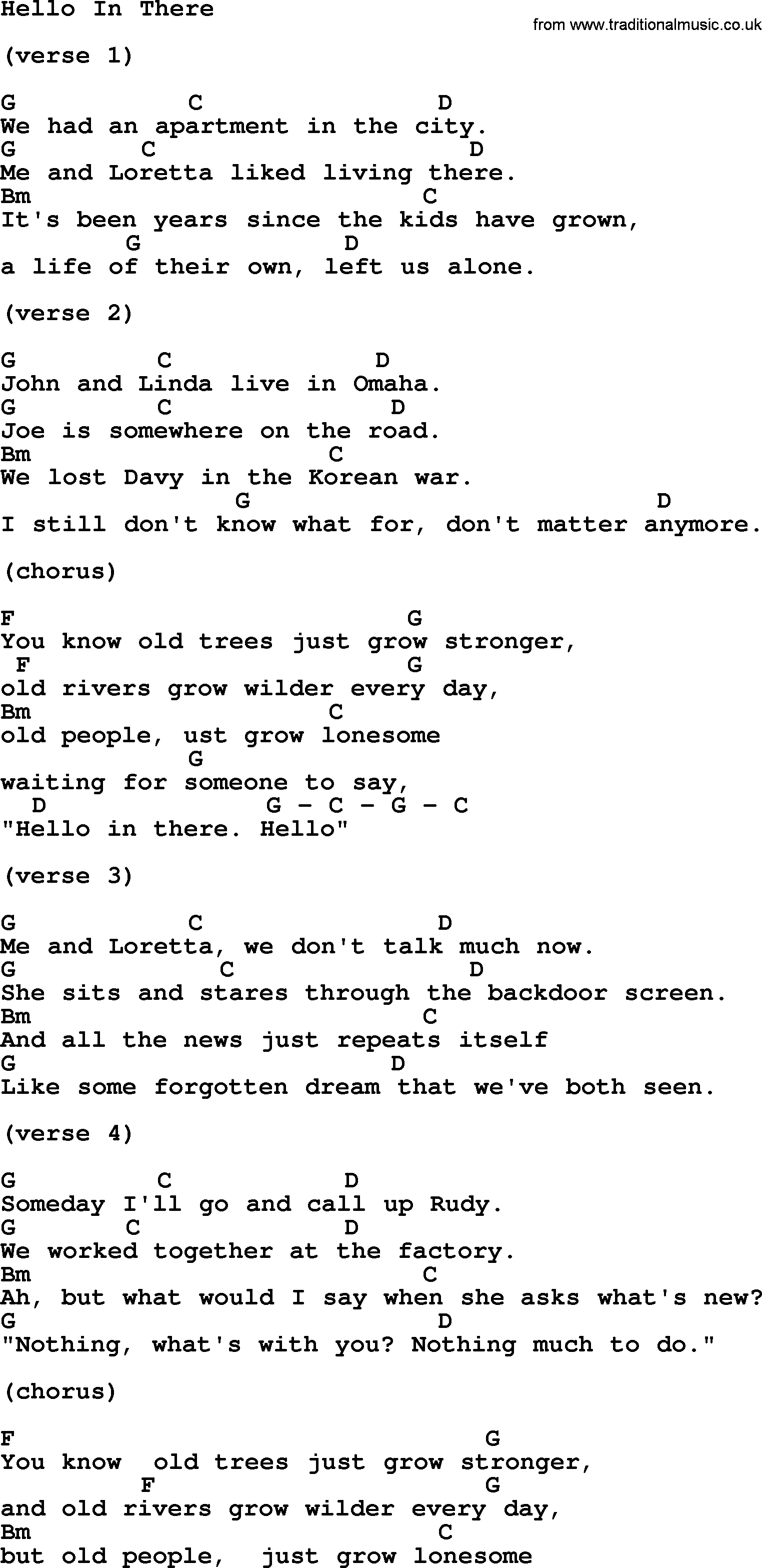 Kris Kristofferson Song Hello In There Lyrics And Chords